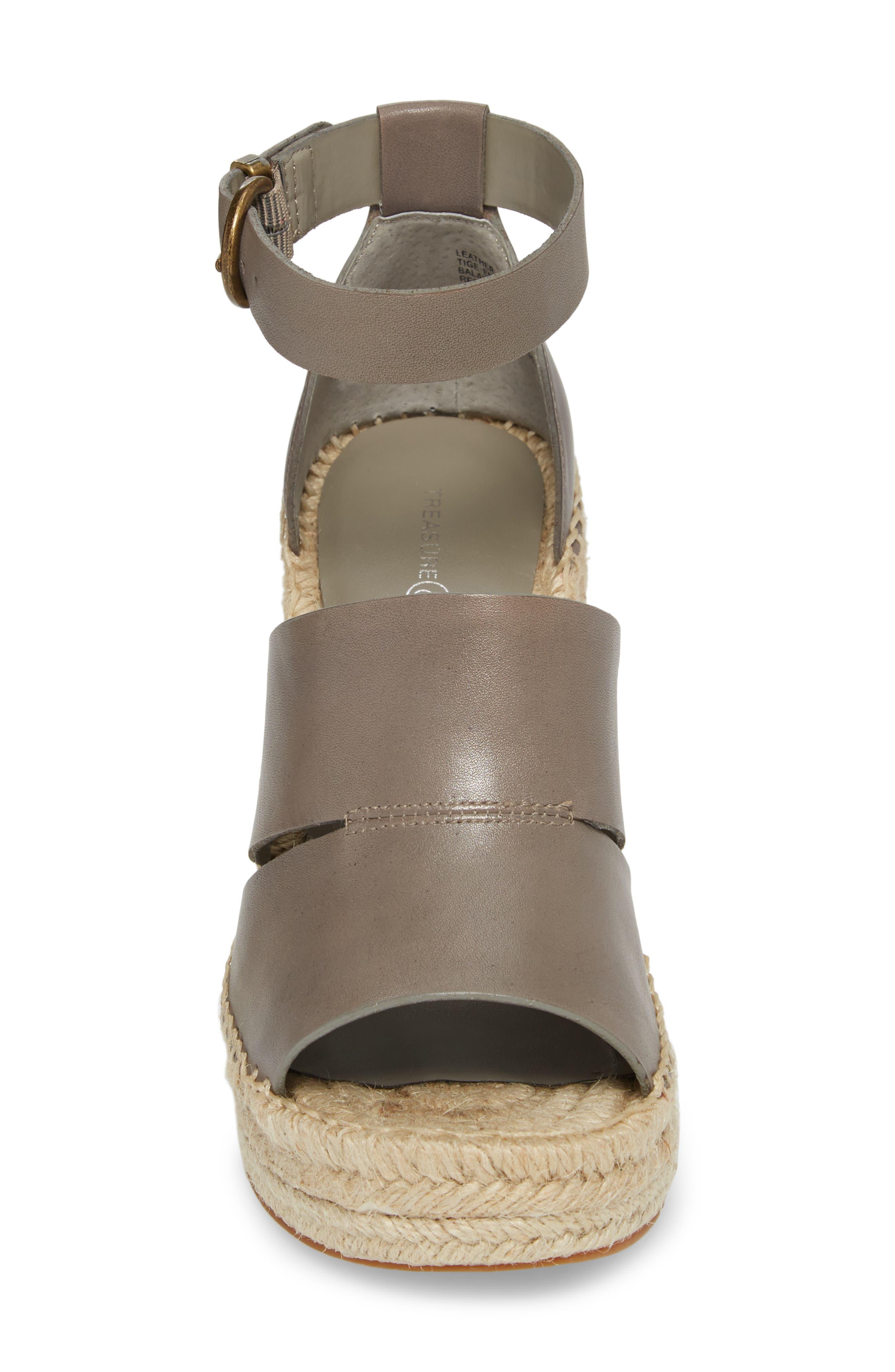 TREASURE & BOND,                             Sannibel Platform Wedge Sandal,                             Alternate thumbnail 4, color,                             GREY LEATHER