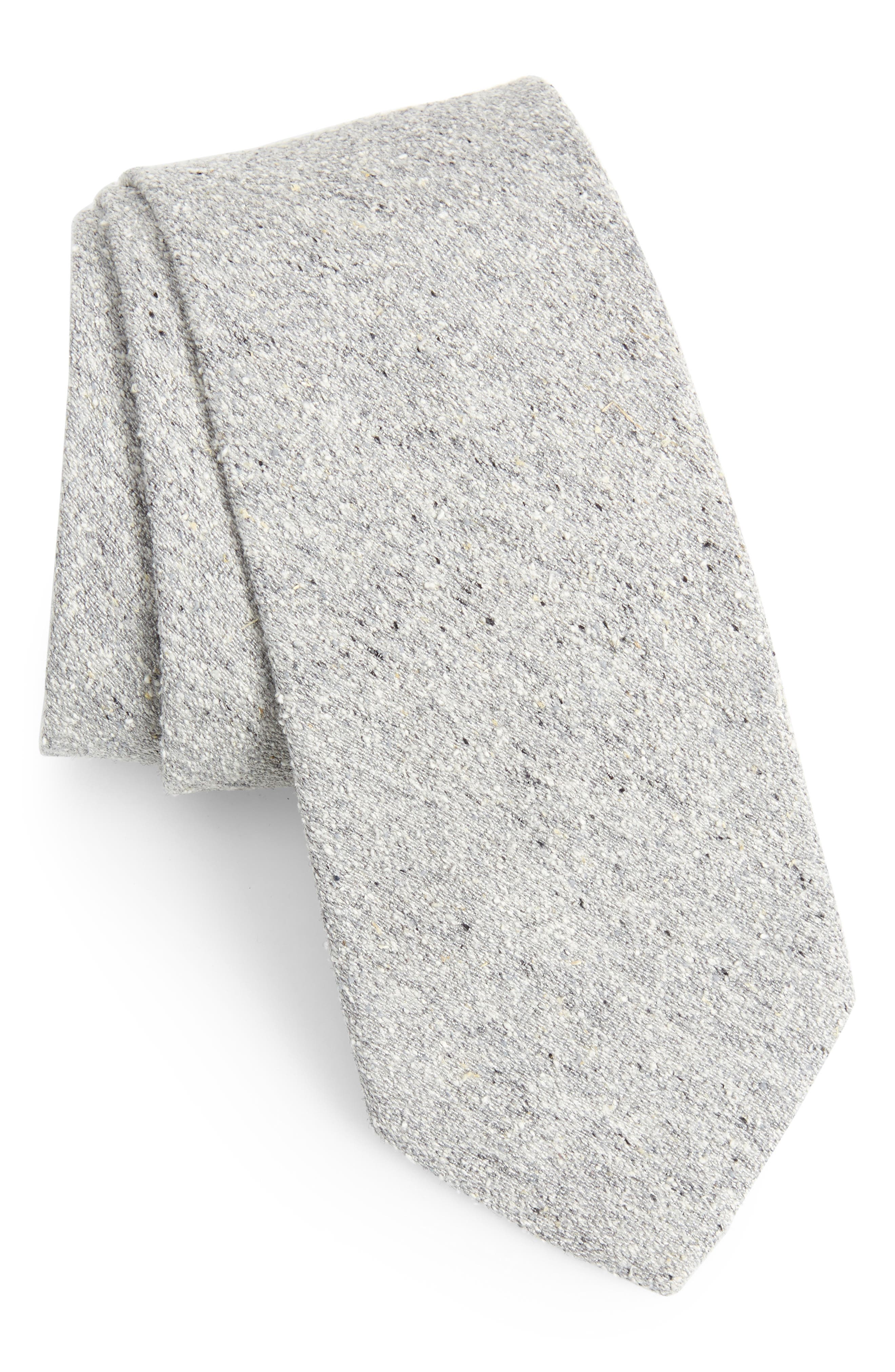 Sterling Solid Silk Tie,                             Main thumbnail 1, color,                             GREY