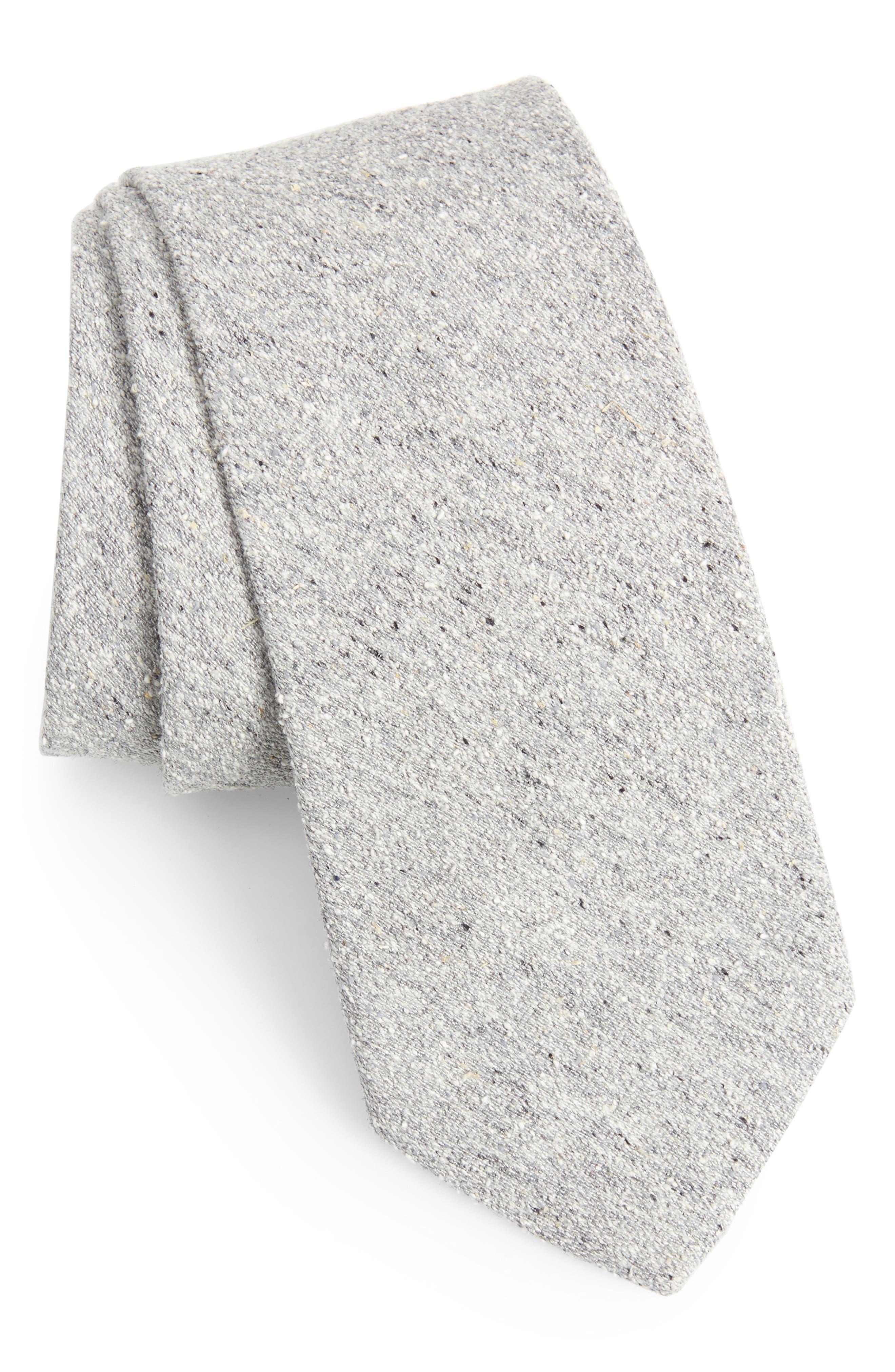 Sterling Solid Silk Tie,                         Main,                         color, GREY