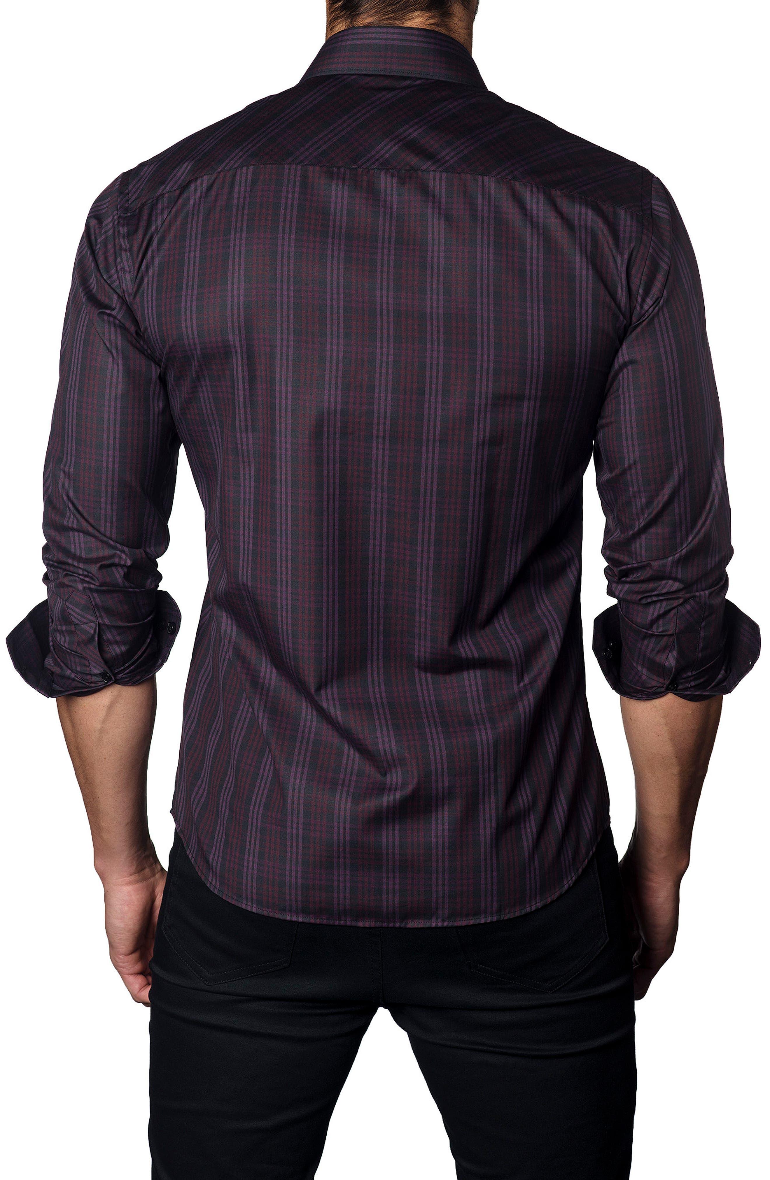 Trim Fit Plaid Sport Shirt,                             Alternate thumbnail 2, color,