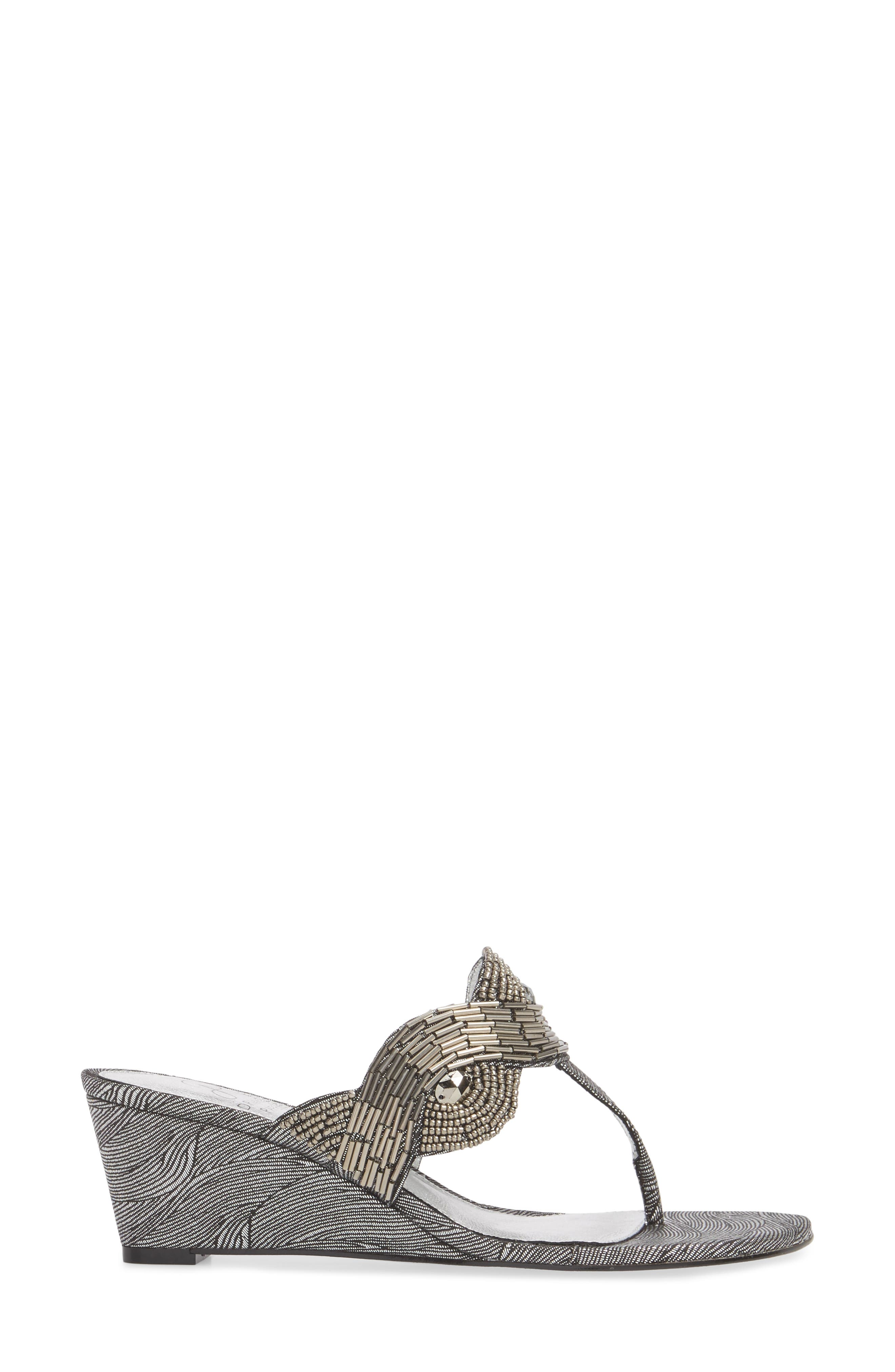ADRIANNA PAPELL,                             Coco Beaded Wedge Sandal,                             Alternate thumbnail 3, color,                             049