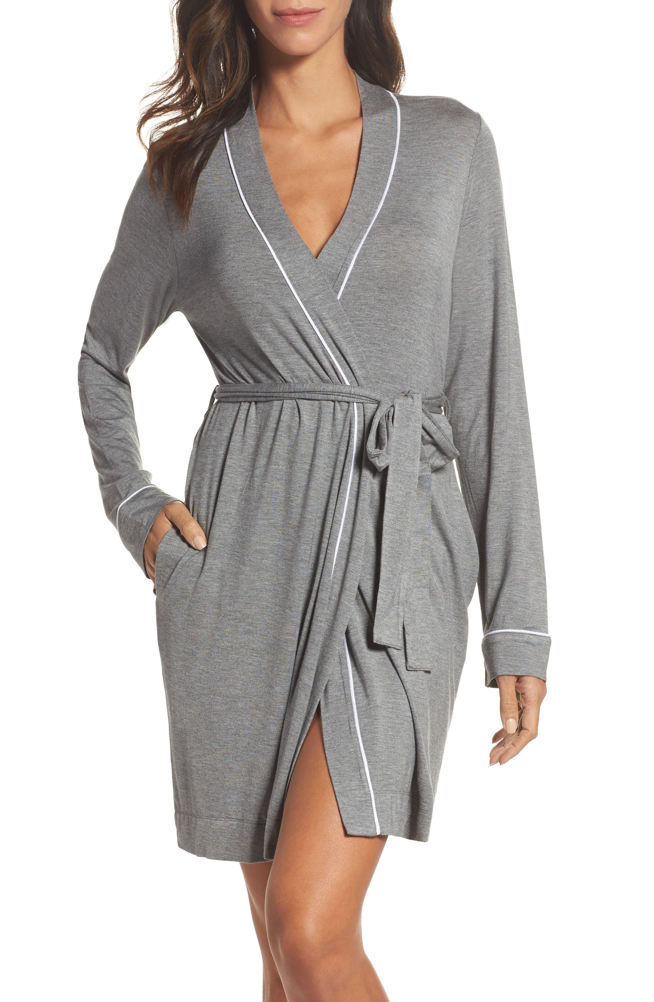 Aldridge Short Robe,                         Main,                         color, GREY HEATHER