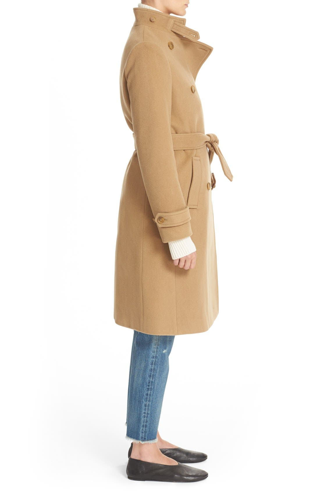 VINCE,                             Stand Collar Wool & Cashmere Trench Coat,                             Alternate thumbnail 3, color,                             200