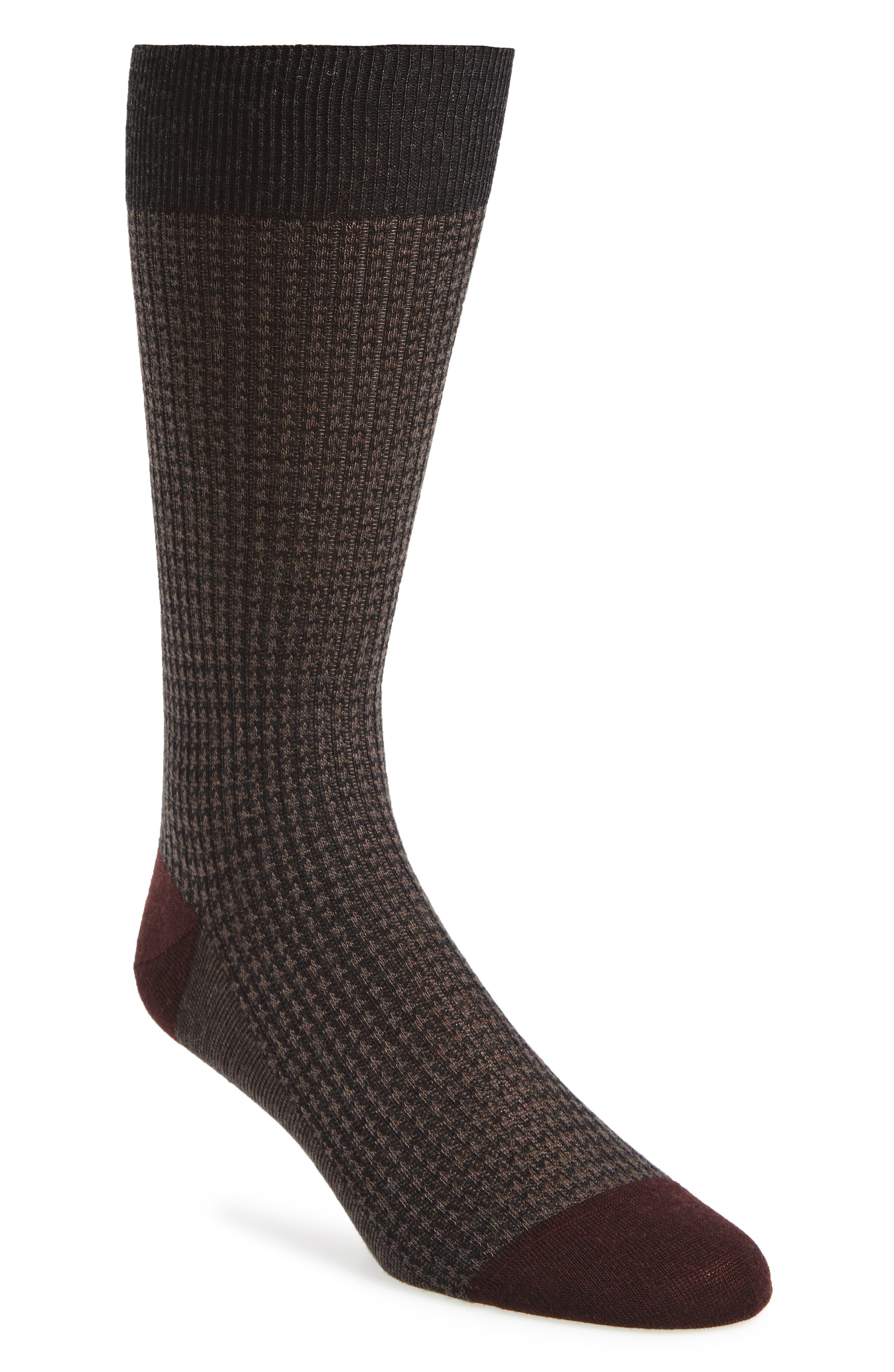 Houndstooth Wool Blend Socks, Main, color, 021