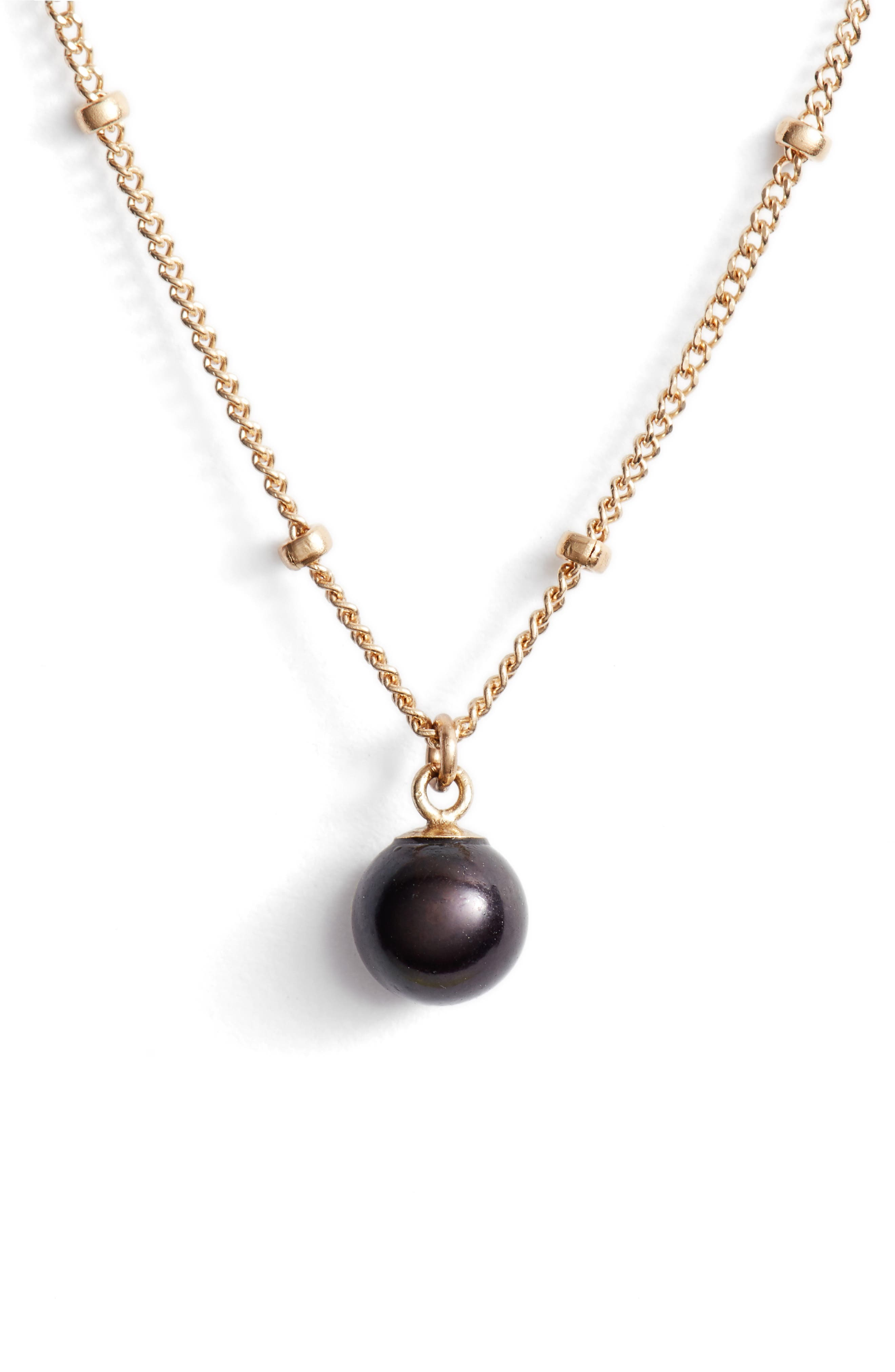 Baby Pearl Bead Choker Necklace,                         Main,                         color, YELLOW GOLD/ BLACK PEARL