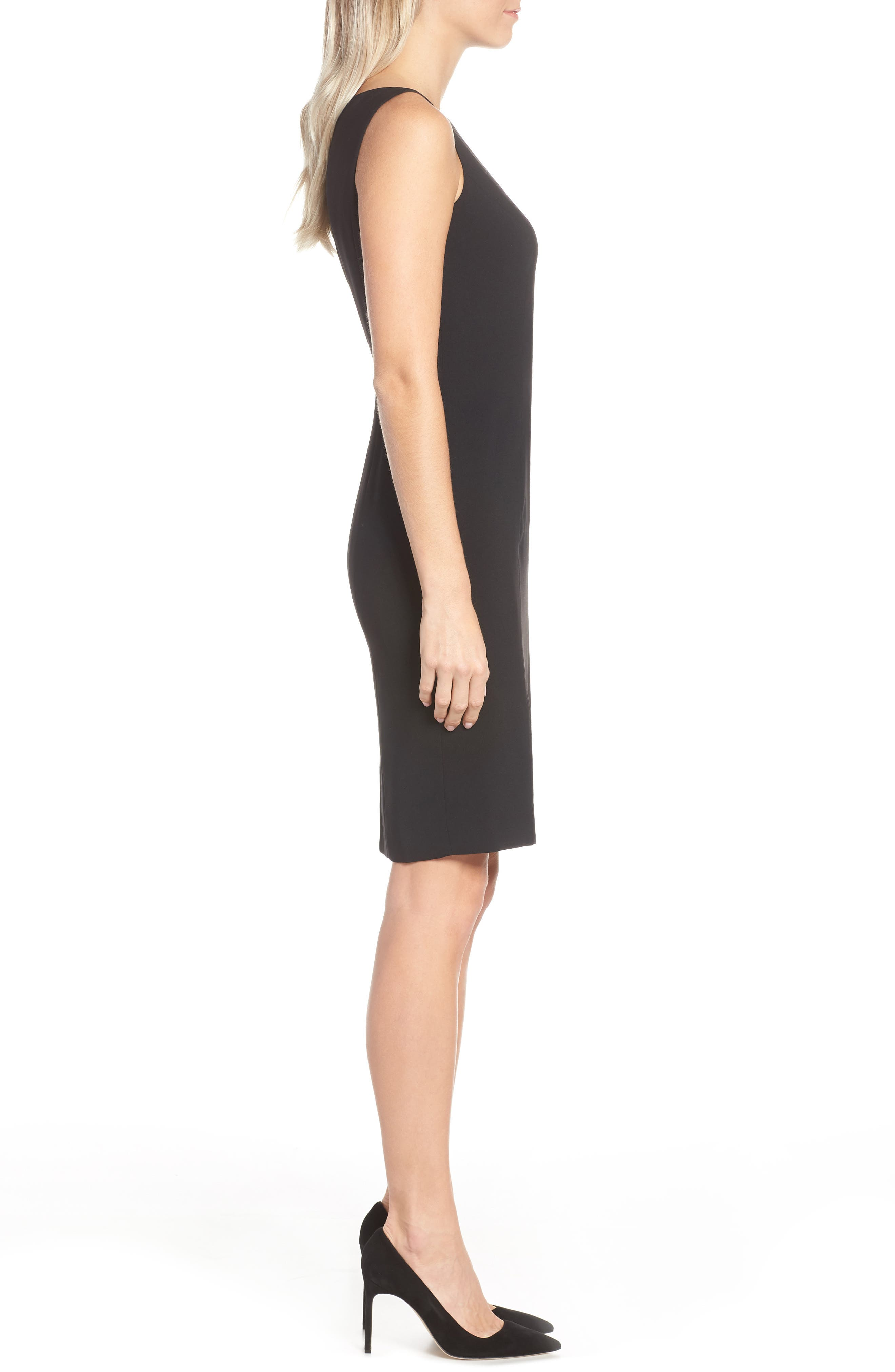 by Arthur S. Levine Crepe Sheath Dress,                             Alternate thumbnail 4, color,                             BLACK
