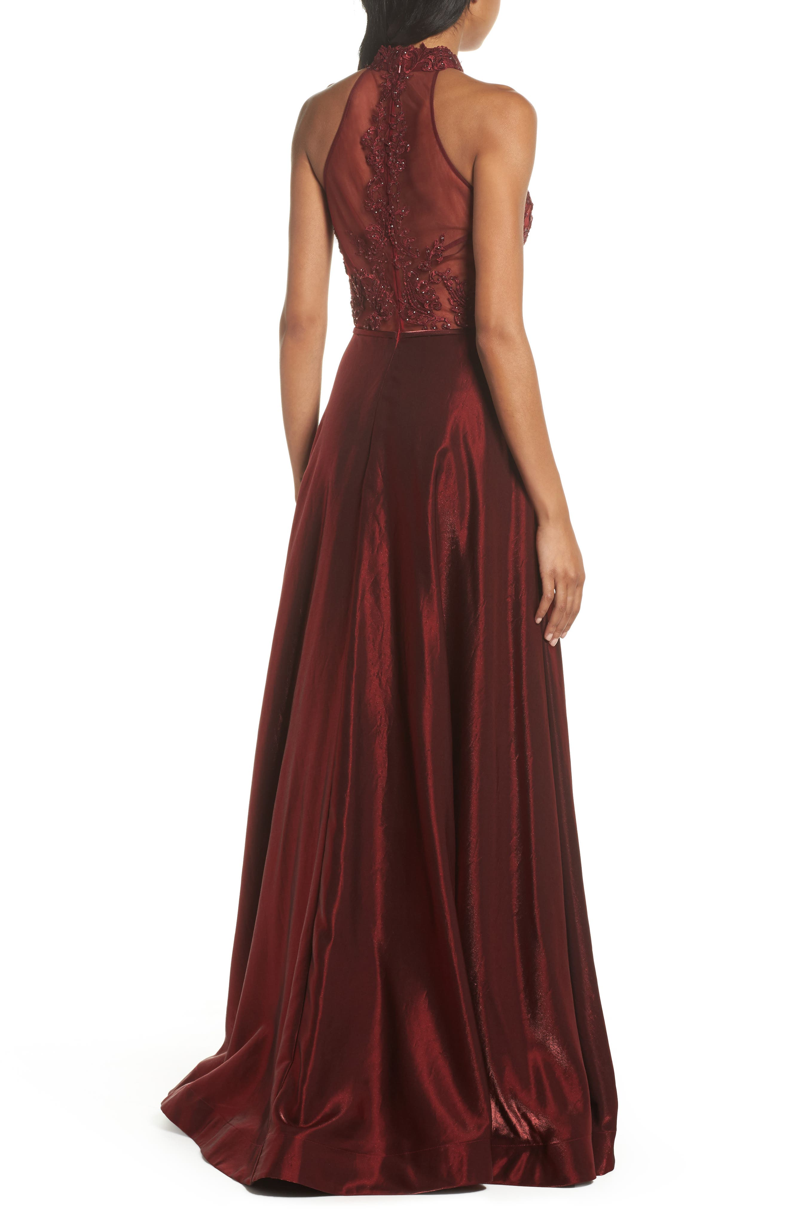 Embroidered Lace & Satin A-Line Ballgown,                             Alternate thumbnail 4, color,