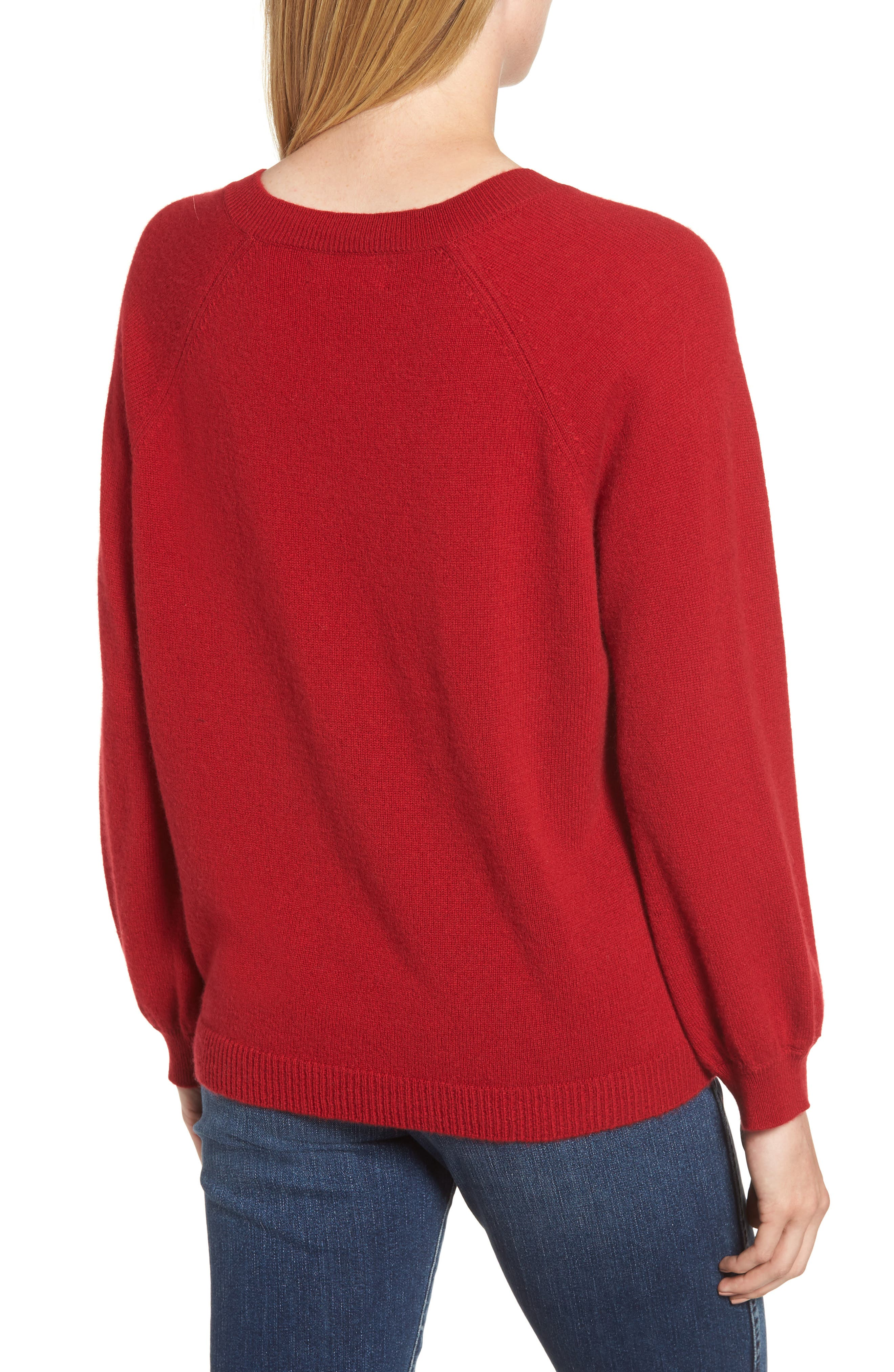 Blouson Sleeve Cashmere Sweater,                             Alternate thumbnail 2, color,                             LIPSTICK