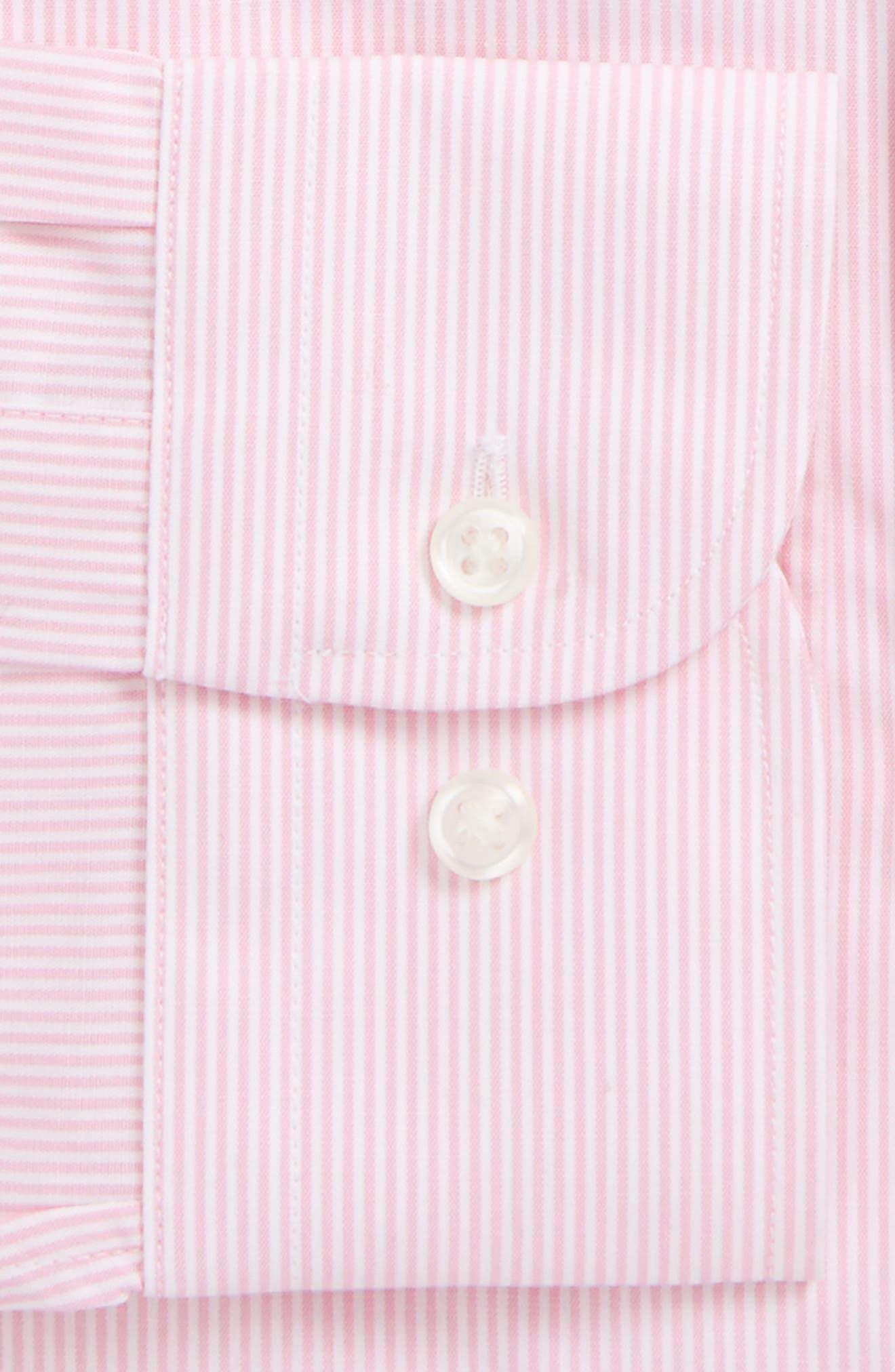 Trim Fit Non-Iron Stripe Dress Shirt,                             Alternate thumbnail 36, color,