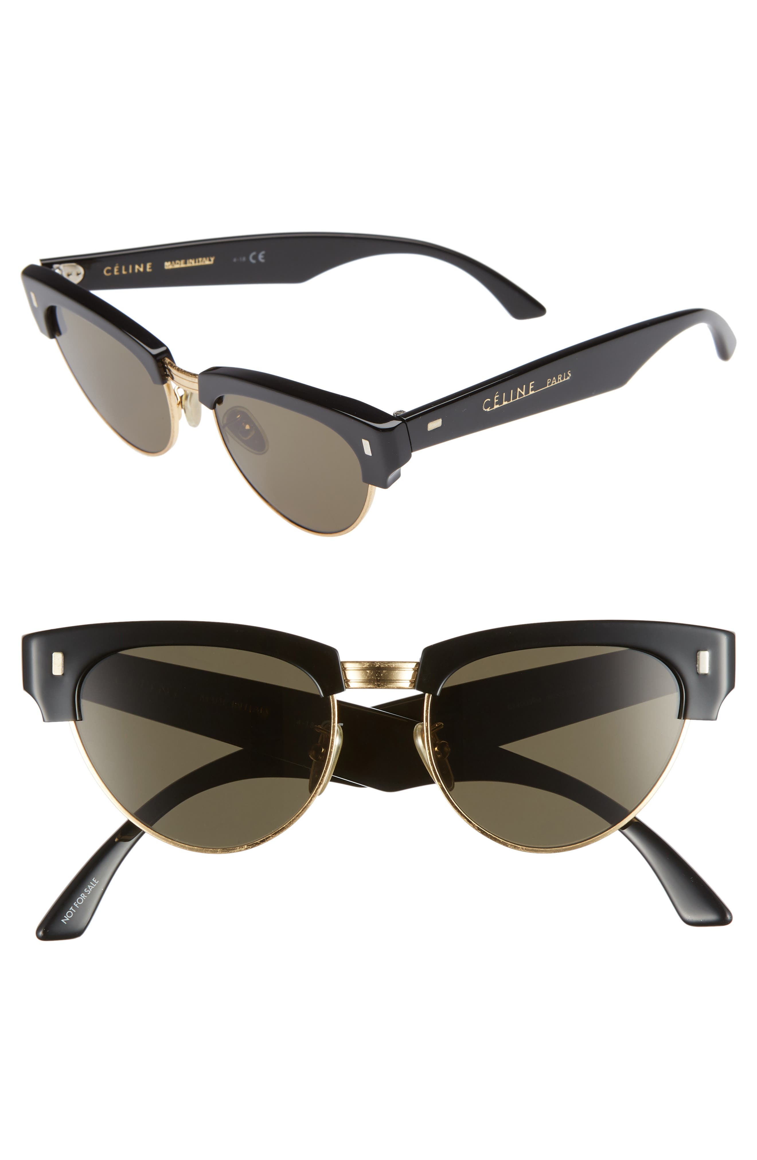 51Mm Modified Cat Eye Sunglasses - Black/ Mineral Lens