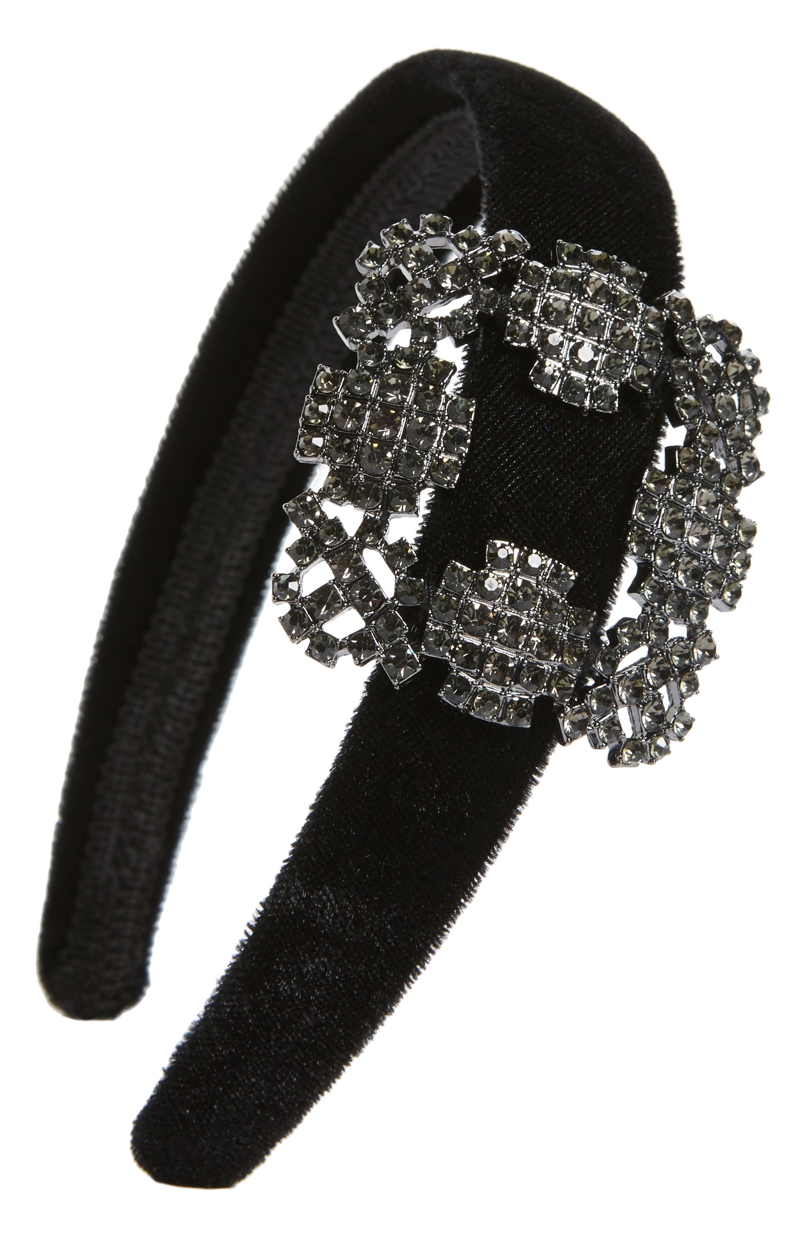 Natasha Buckle Headband,                         Main,                         color, BLACK