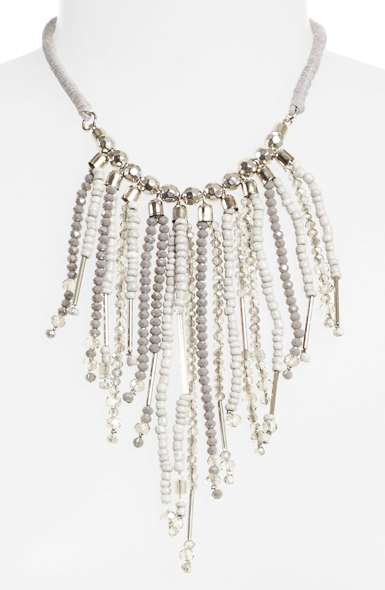 Beaded Fringe Necklace,                             Alternate thumbnail 2, color,