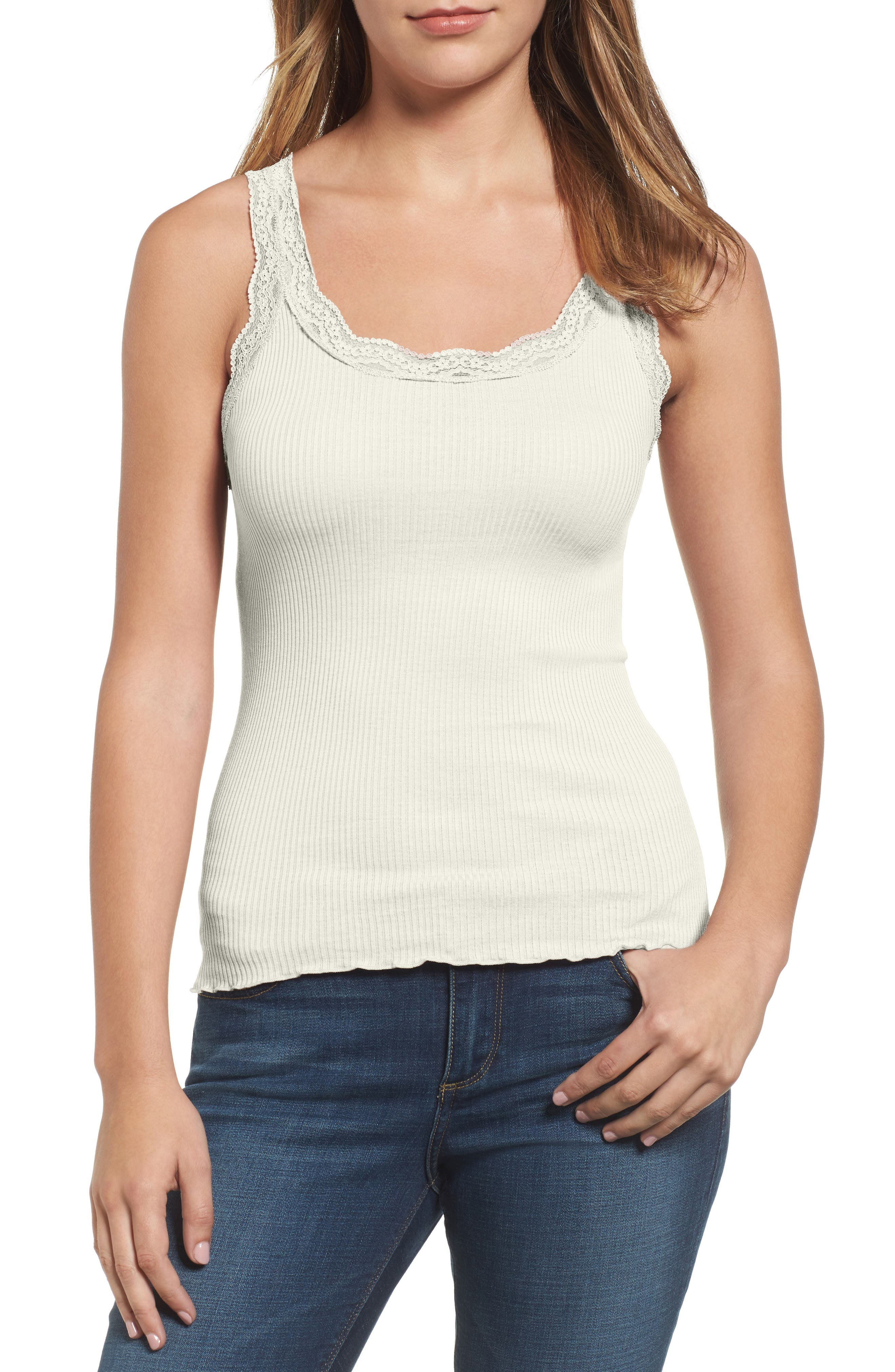 Lace Trim Rib Silk Blend Tank,                         Main,                         color, NEW WHITE
