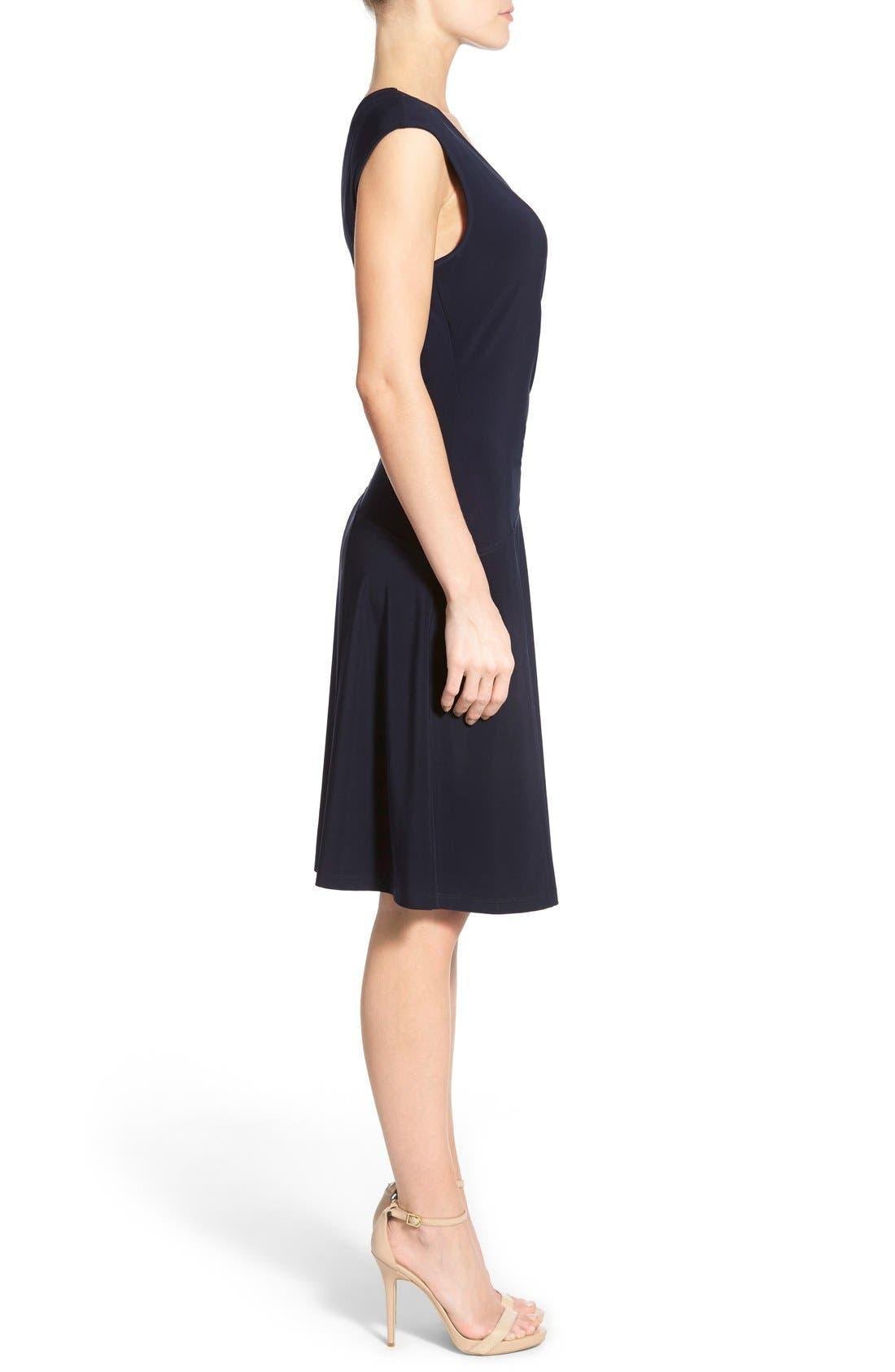 Matte Jersey Faux Wrap Fit & Flare Dress,                             Alternate thumbnail 9, color,