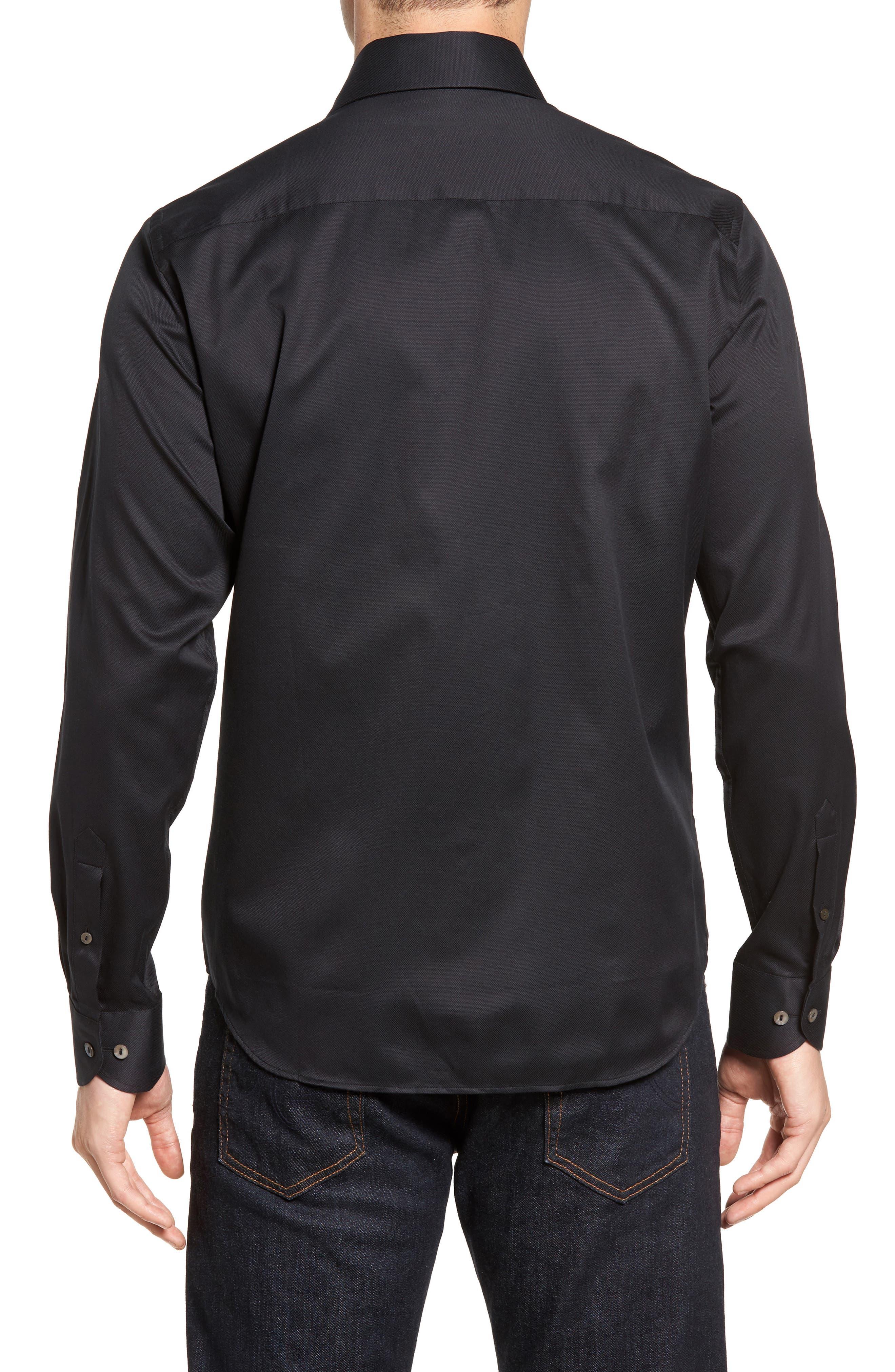 Textured Sport Shirt,                             Alternate thumbnail 2, color,                             BLACK