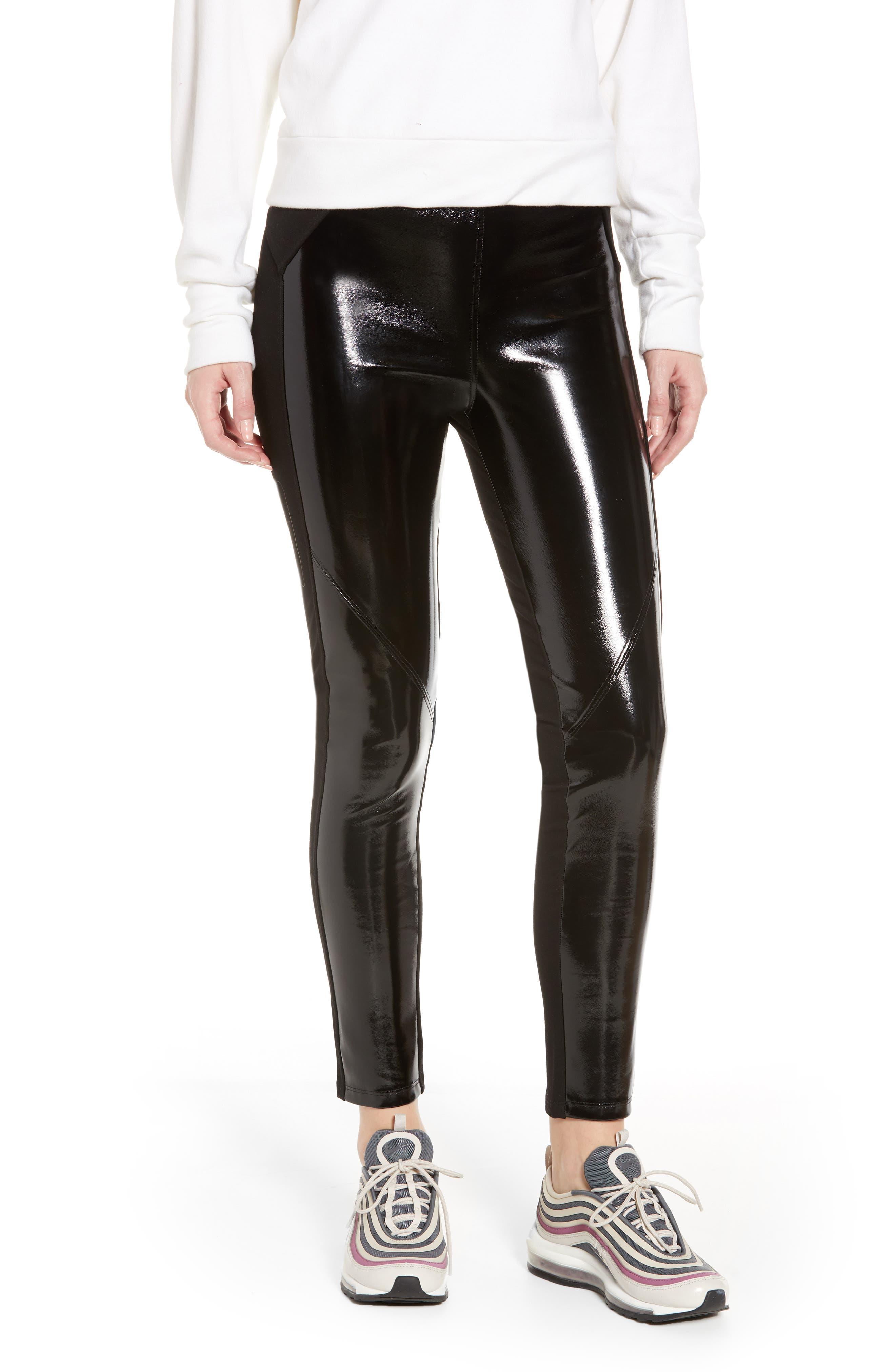 David Lerner Bergen Combo Faux Leather Leggings, Black