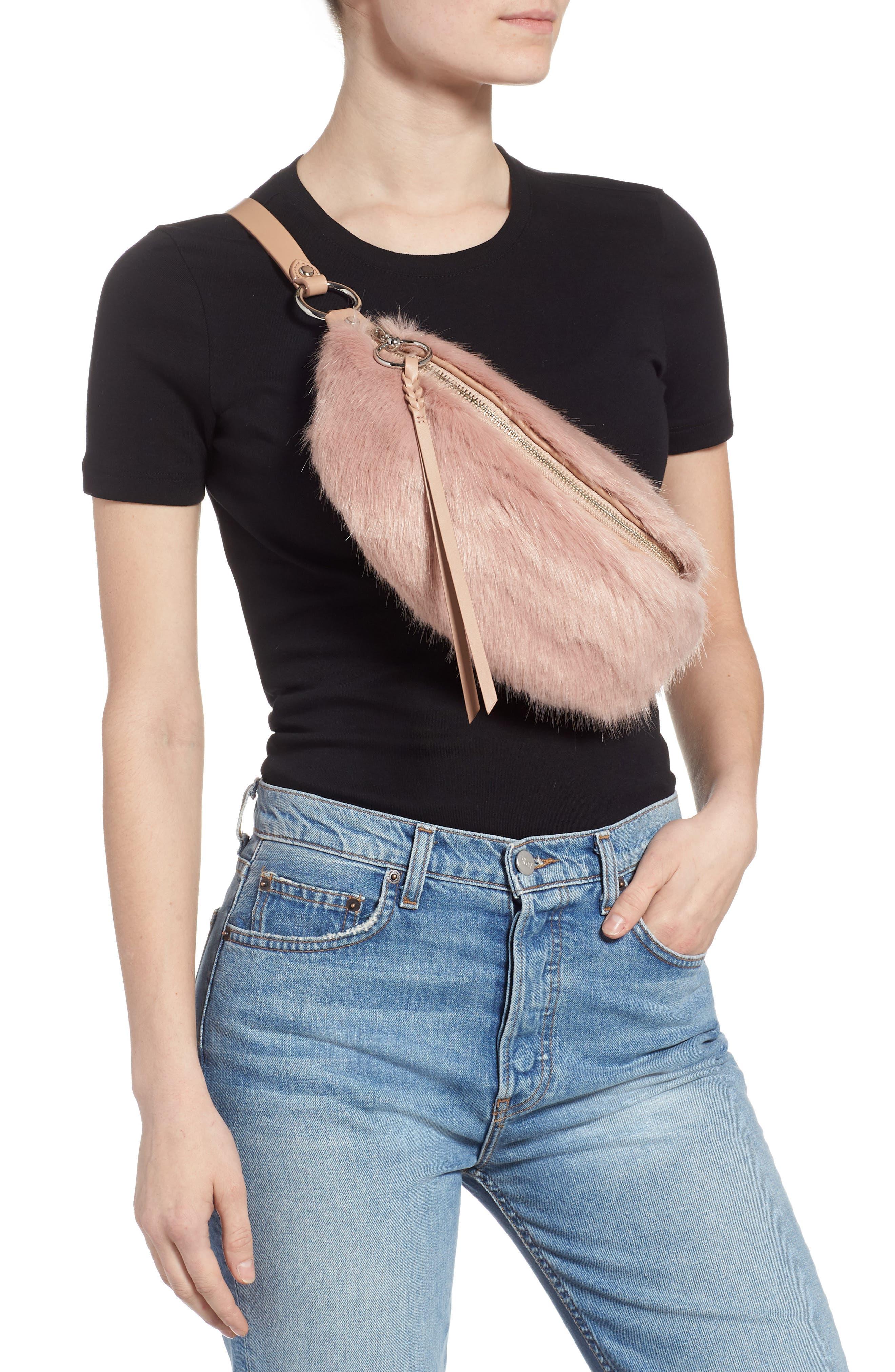 REBECCA MINKOFF,                             Faux Fur Belt Bag,                             Alternate thumbnail 3, color,                             250