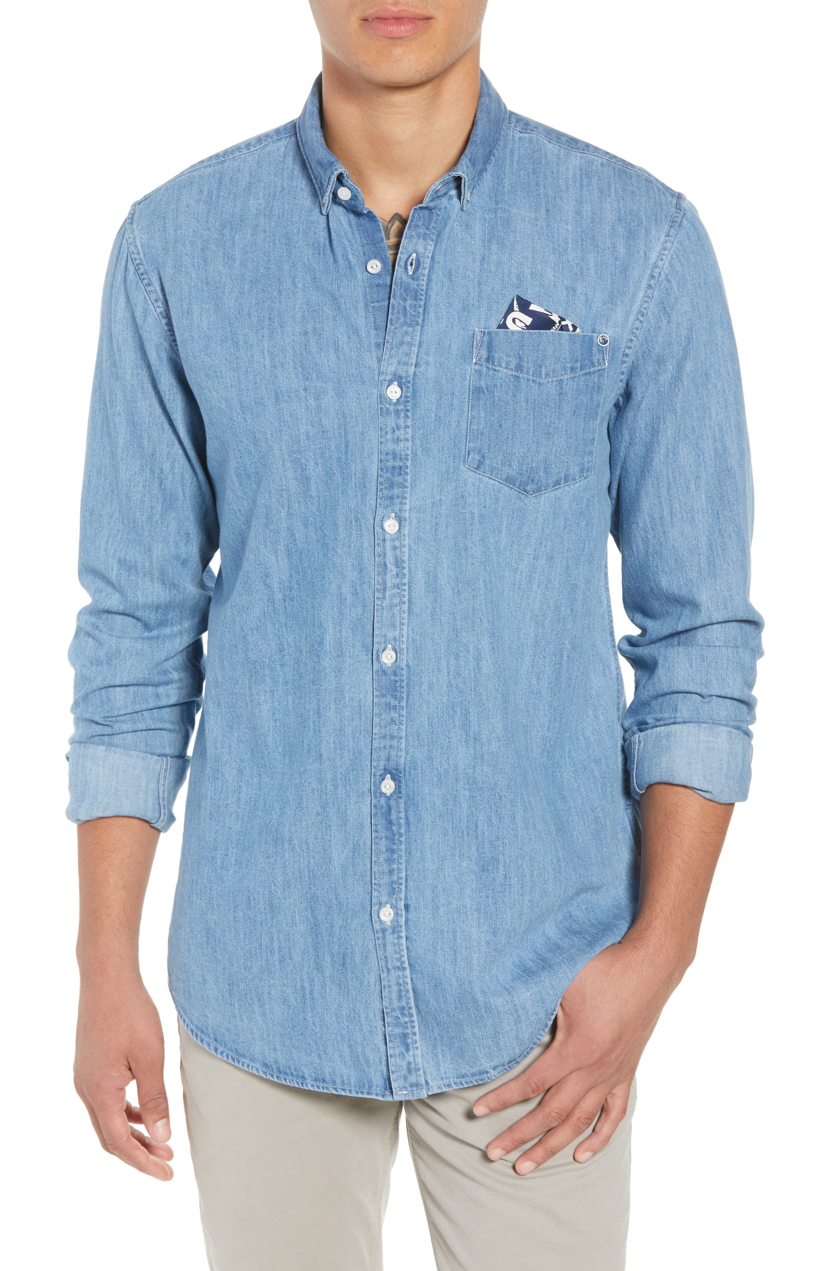 Amsterdams Blauw Pocket Square Chambray Sport Shirt,                         Main,                         color, DENIM BLUE