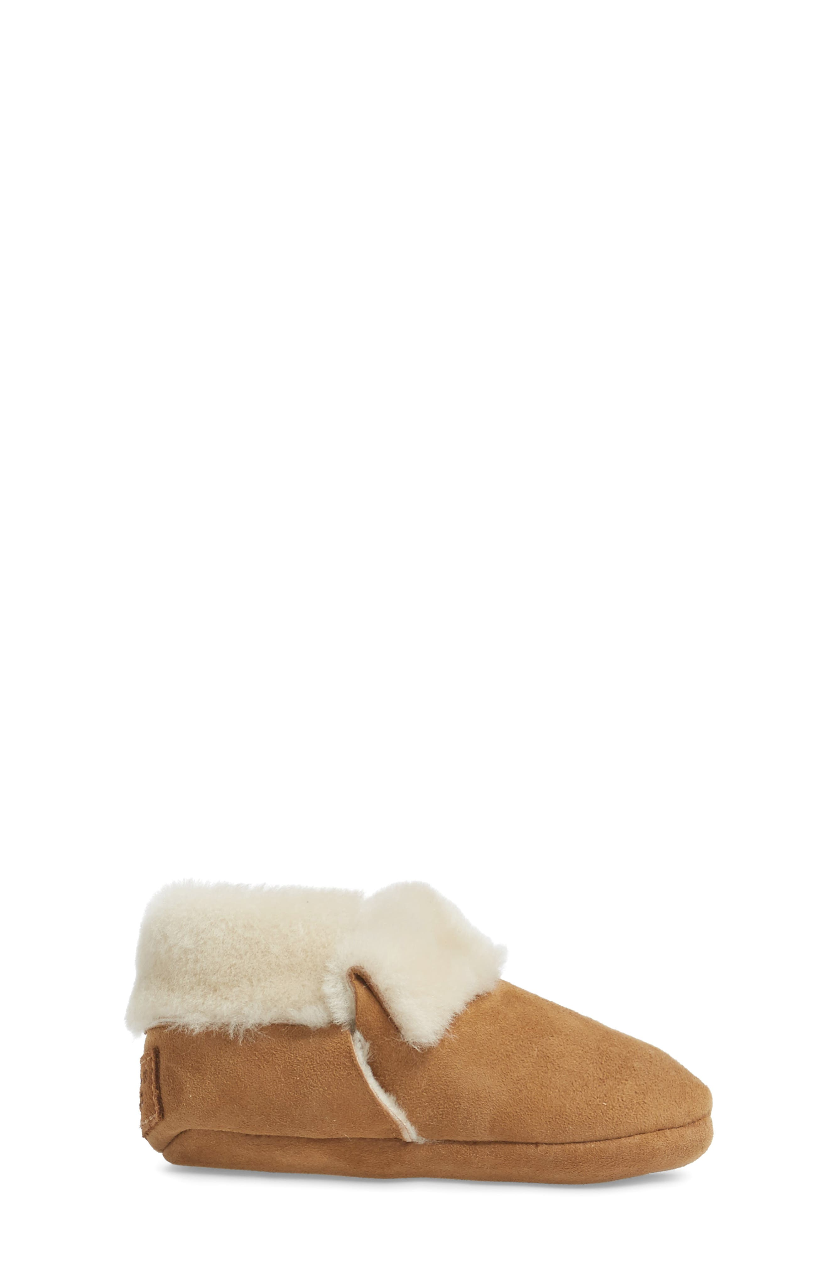 Solvi Genuine Shearling Low Cuffed Bootie,                             Alternate thumbnail 3, color,                             CHESTNUT