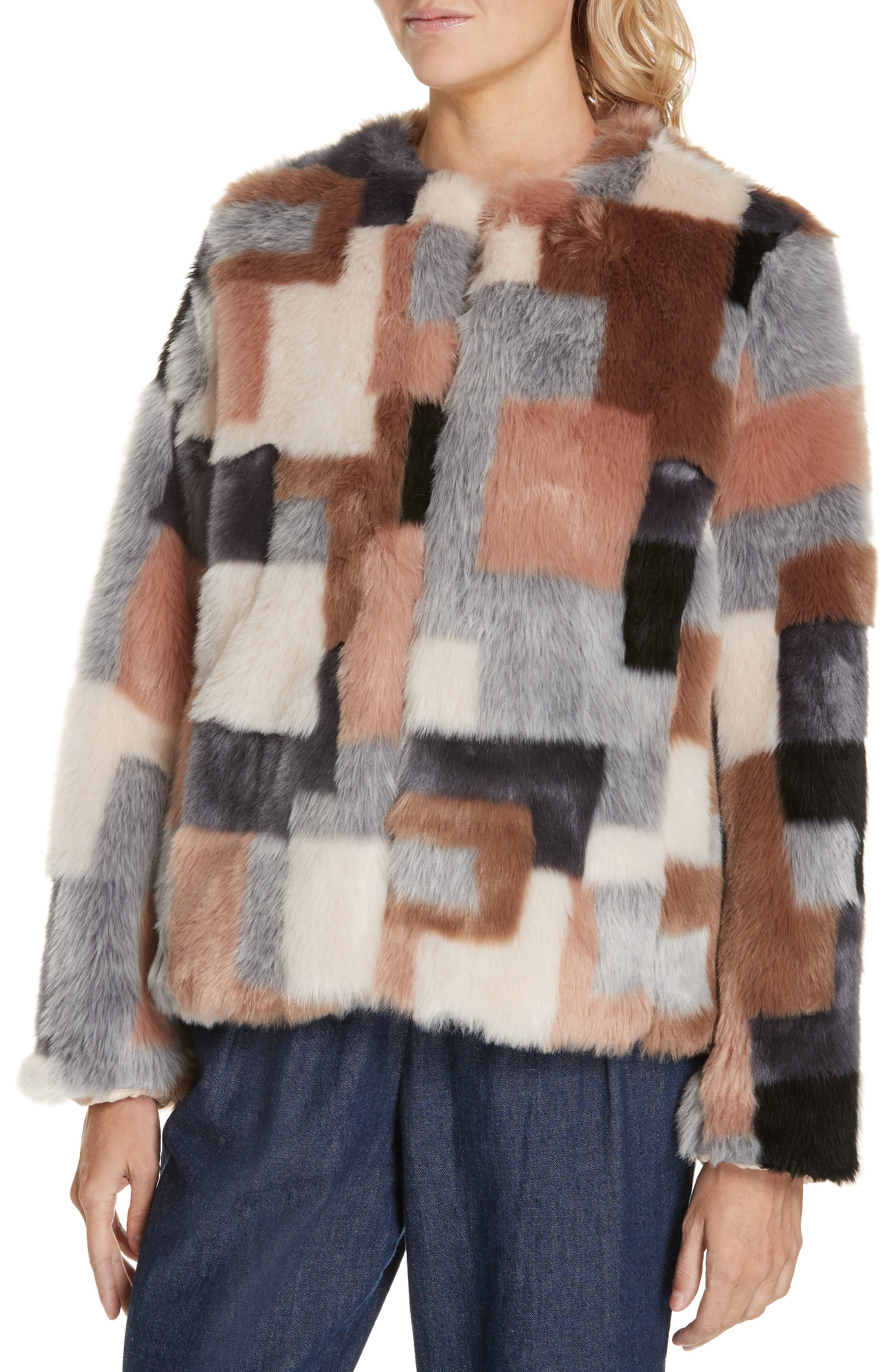 LA VIE REBECCA TAYLOR,                             Patched Faux Fur Jacket,                             Alternate thumbnail 4, color,                             400