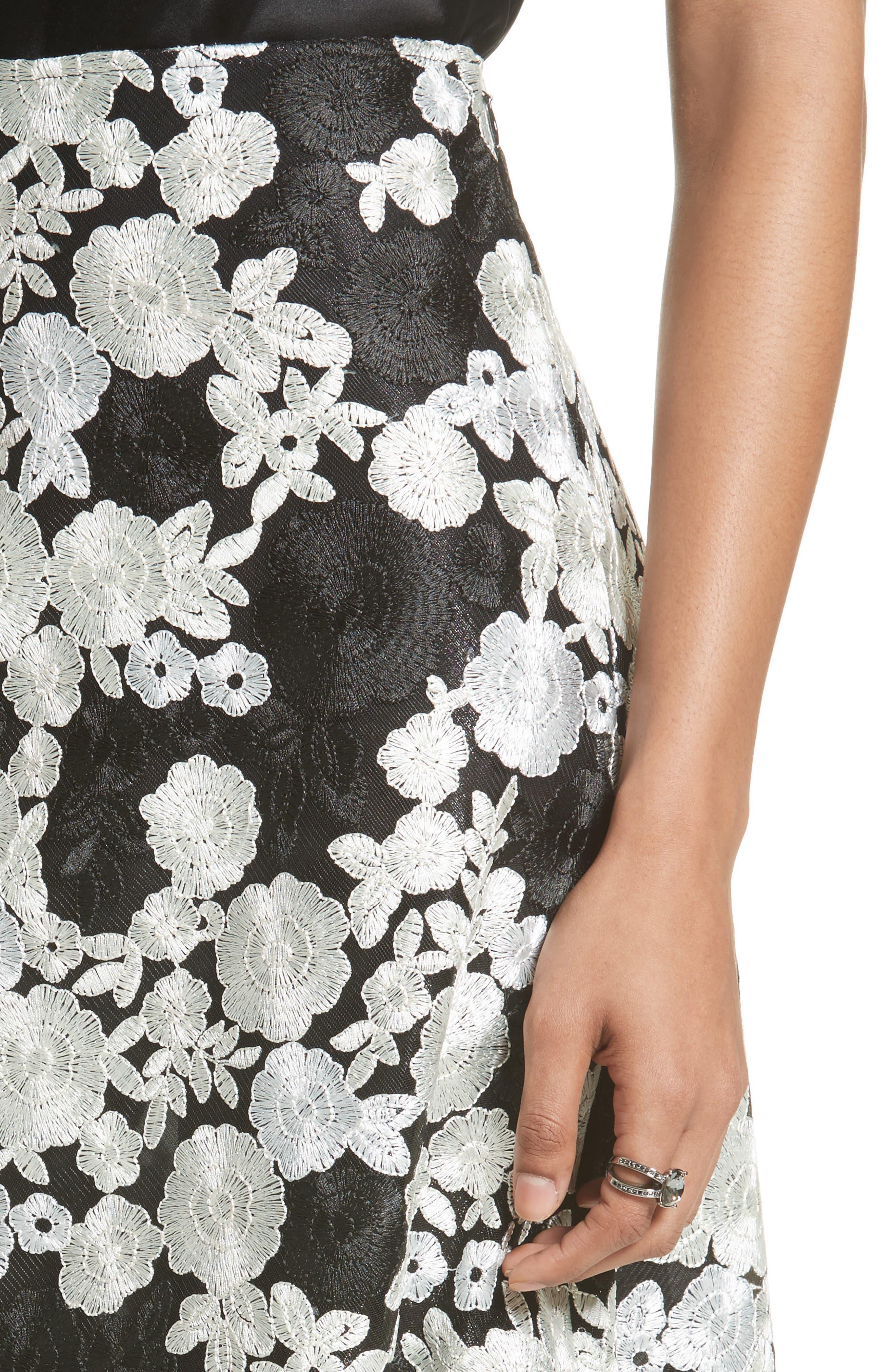 St. John Floral Embroidered Flared Skirt,                             Alternate thumbnail 4, color,                             001