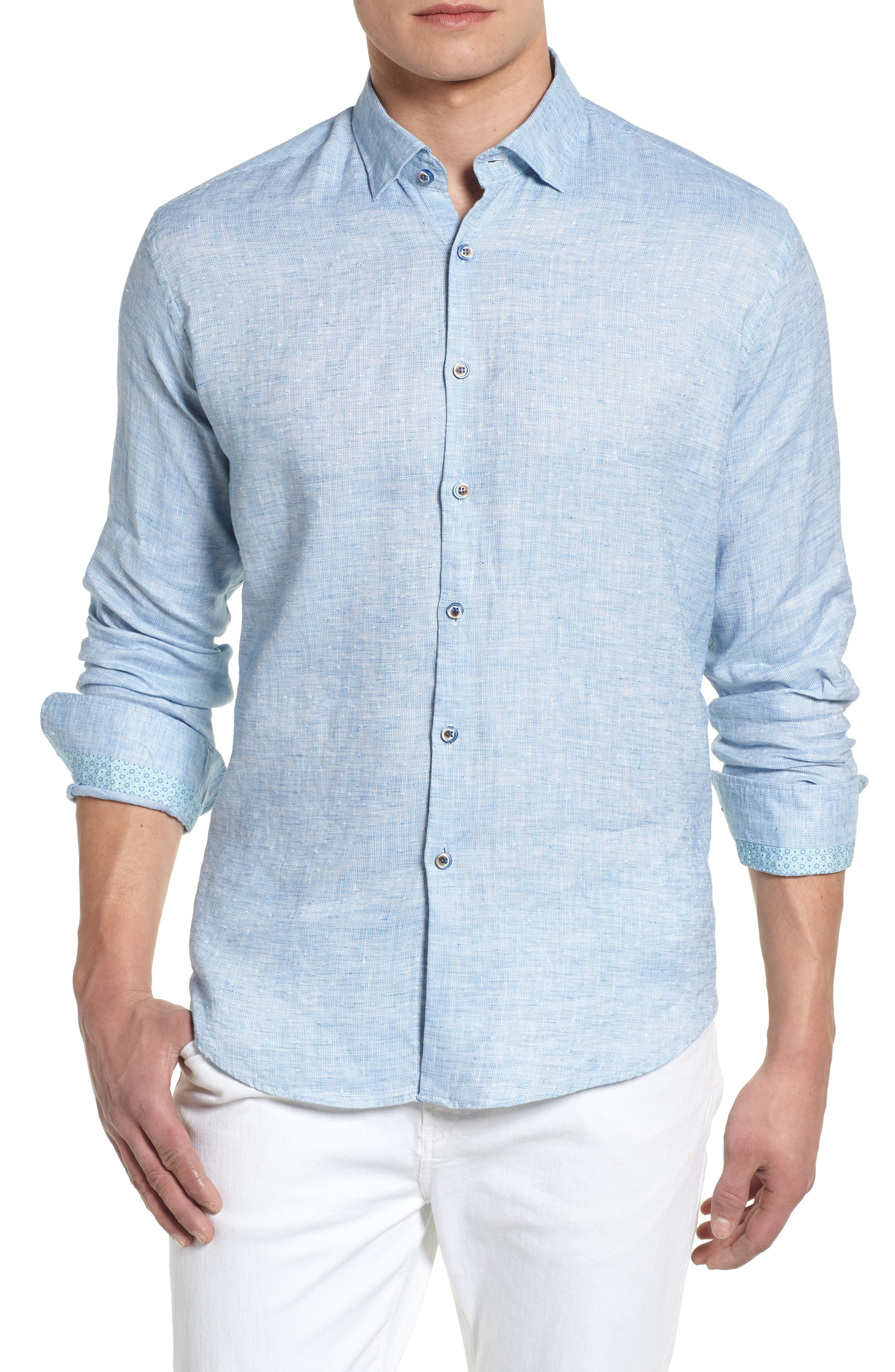 Linen Blend Sport Shirt,                             Main thumbnail 2, color,