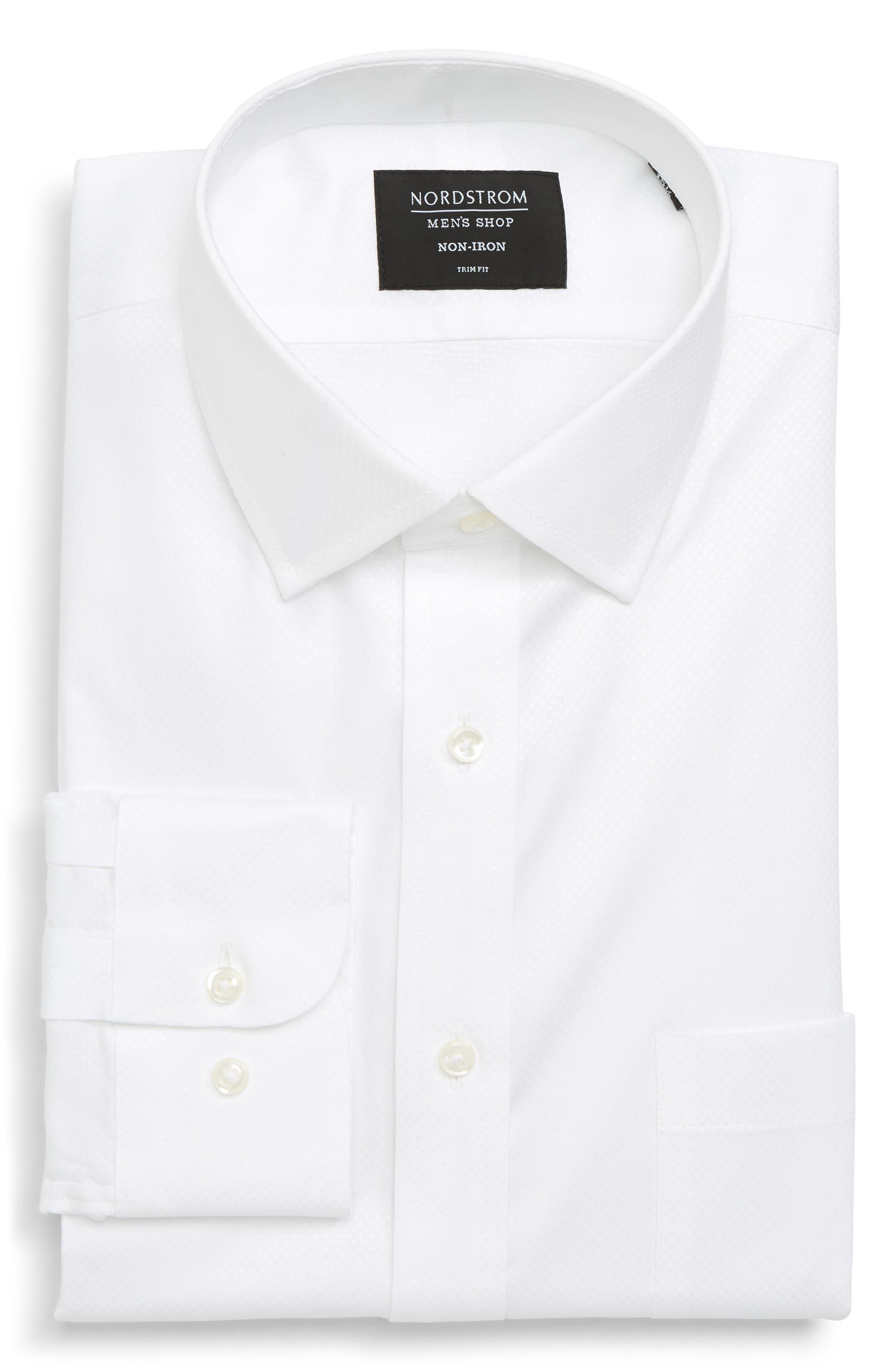 Trim Fit Solid Dress Shirt,                         Main,                         color, 100