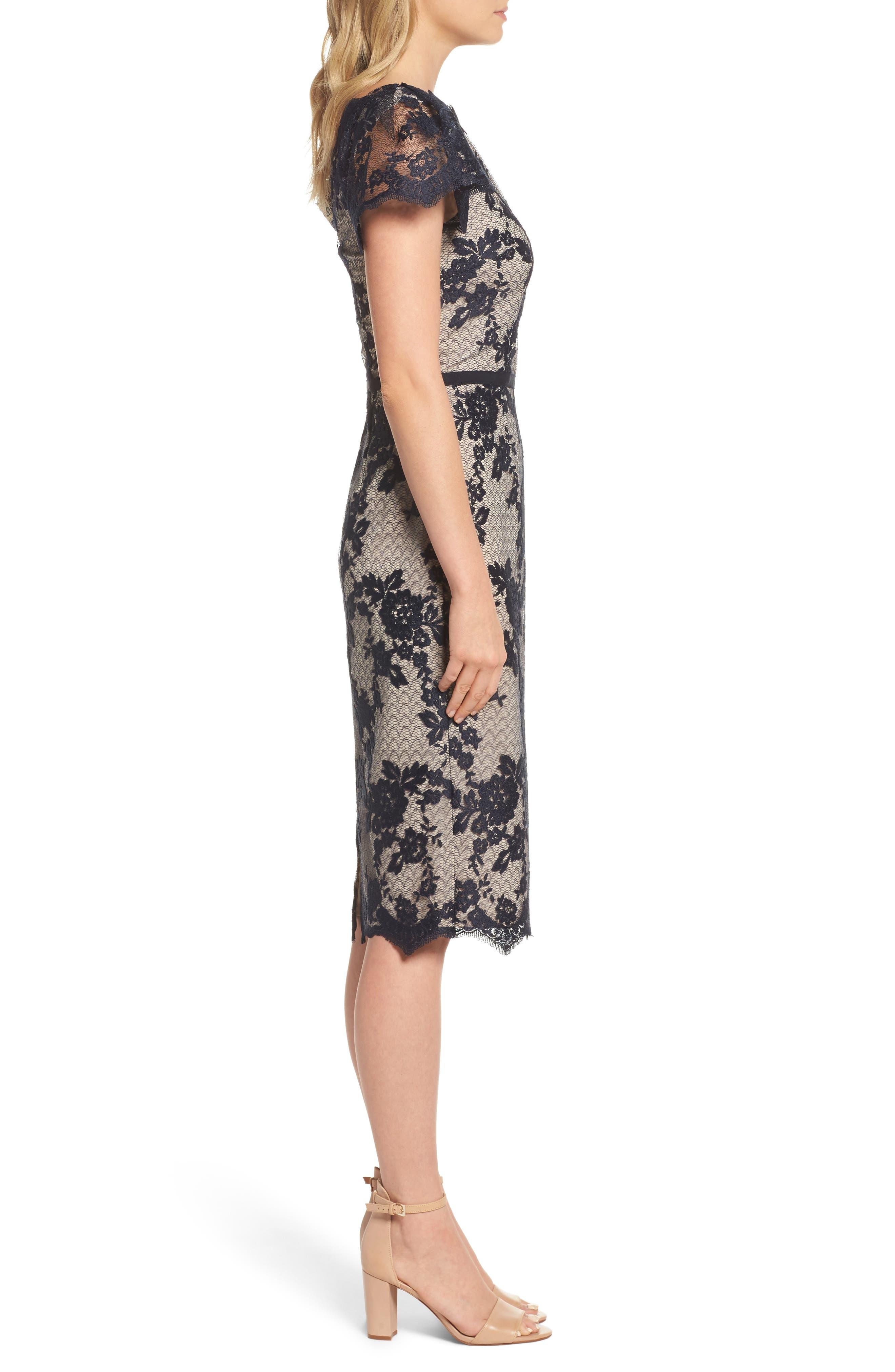 Lace Sheath Dress,                             Alternate thumbnail 3, color,                             402