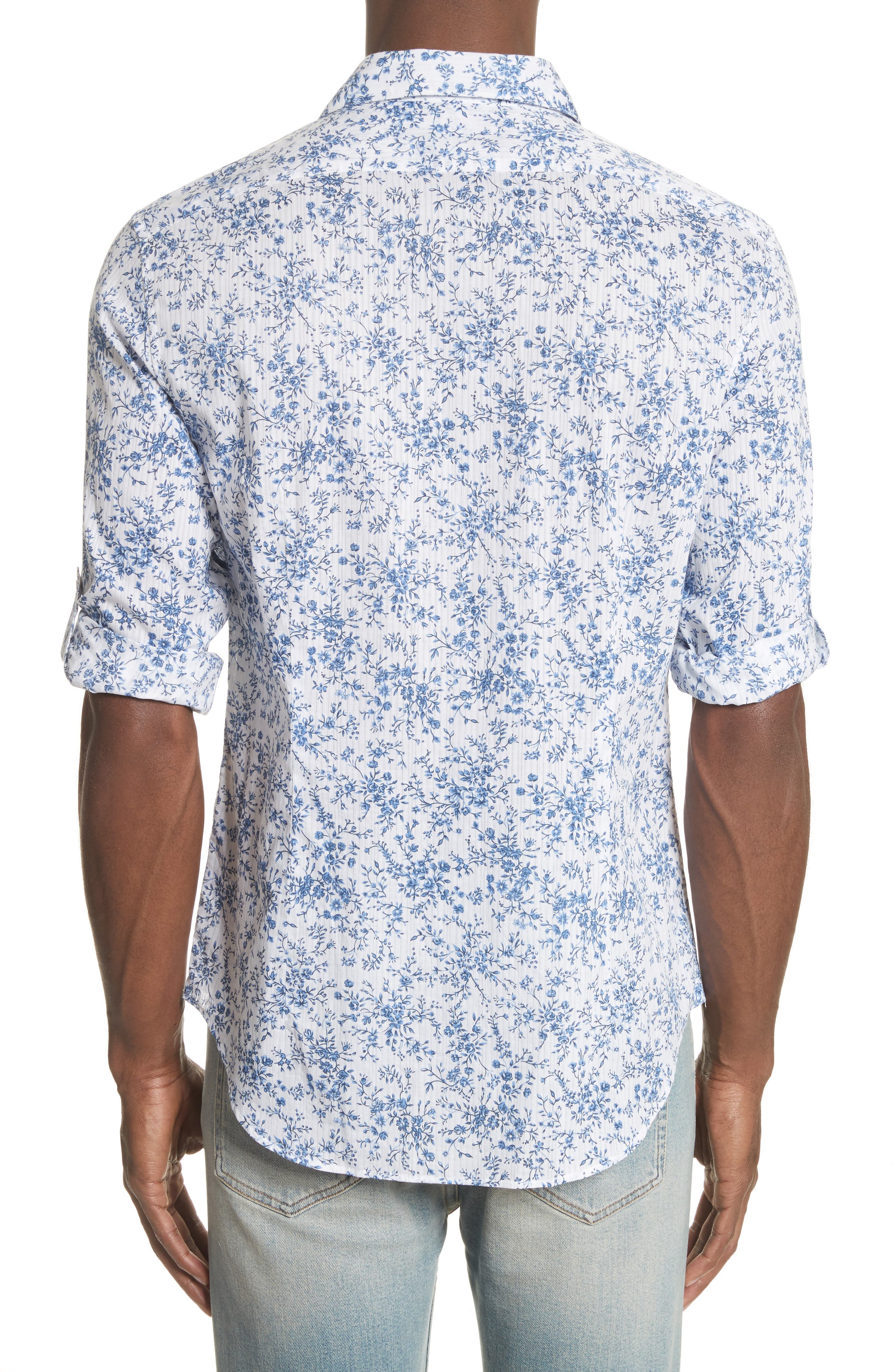 John Varvatos Slim Fit Floral Print Shirt,                             Alternate thumbnail 2, color,                             448