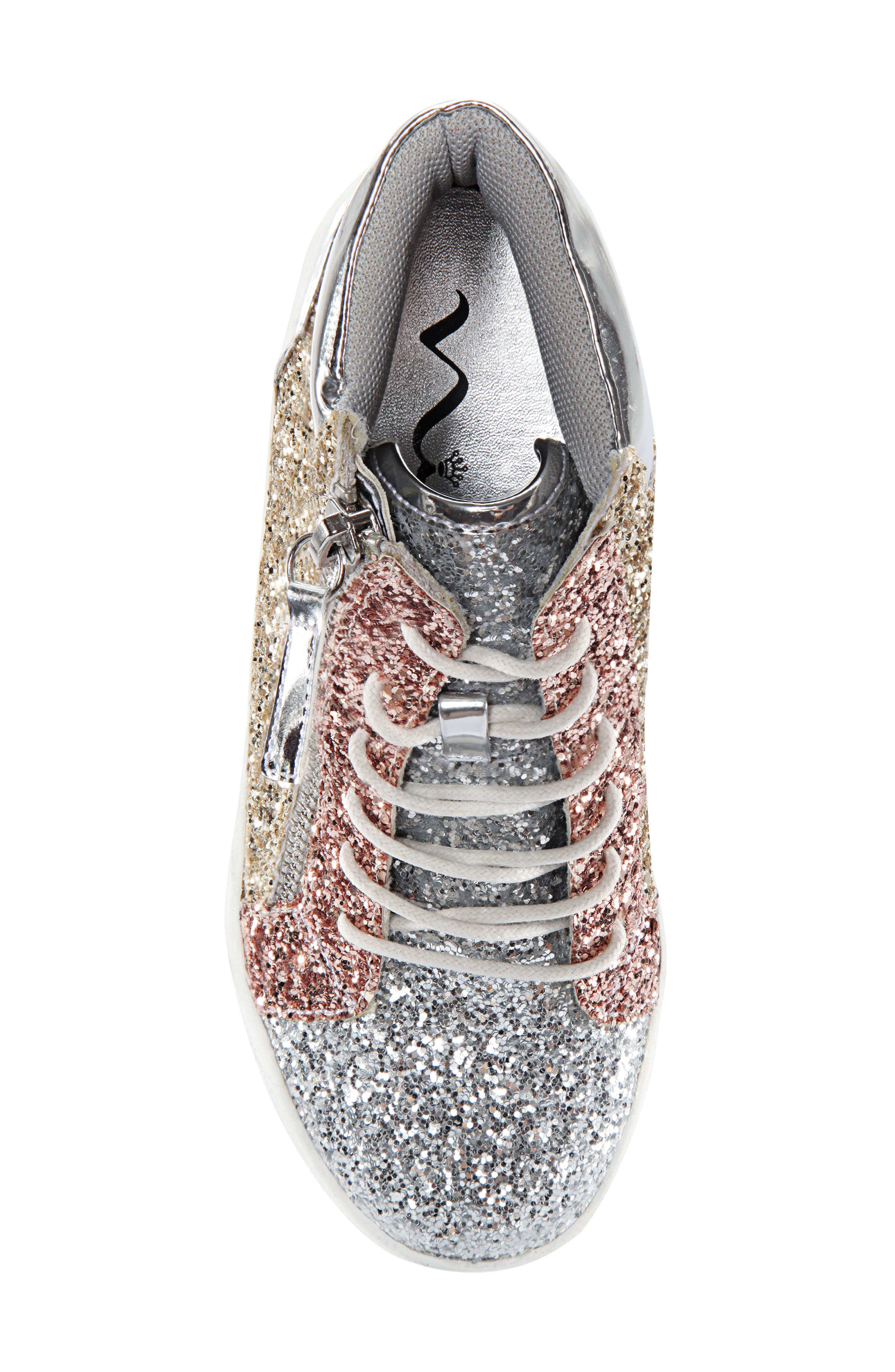 Hylda Glitter High Top Sneaker,                             Alternate thumbnail 5, color,                             SILVER MULTI GLITTER/ PATENT