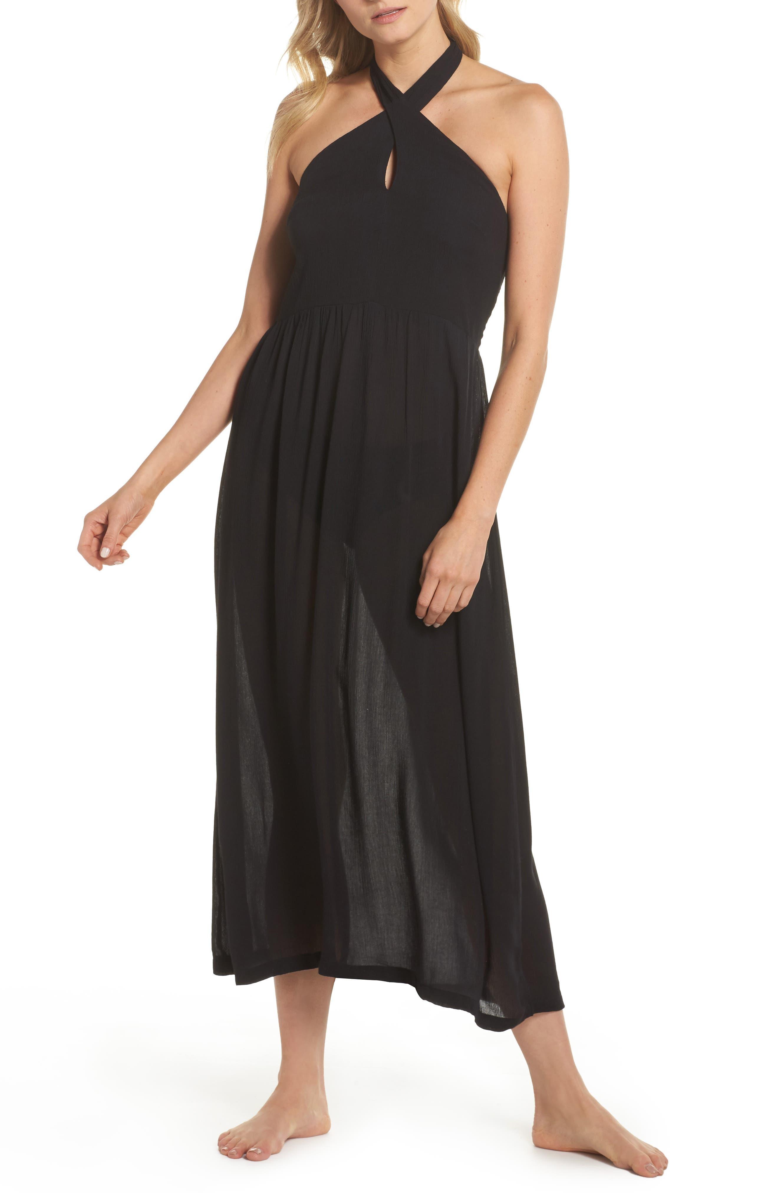 Midi Tie Back Cover-Up Dress,                             Main thumbnail 1, color,                             001