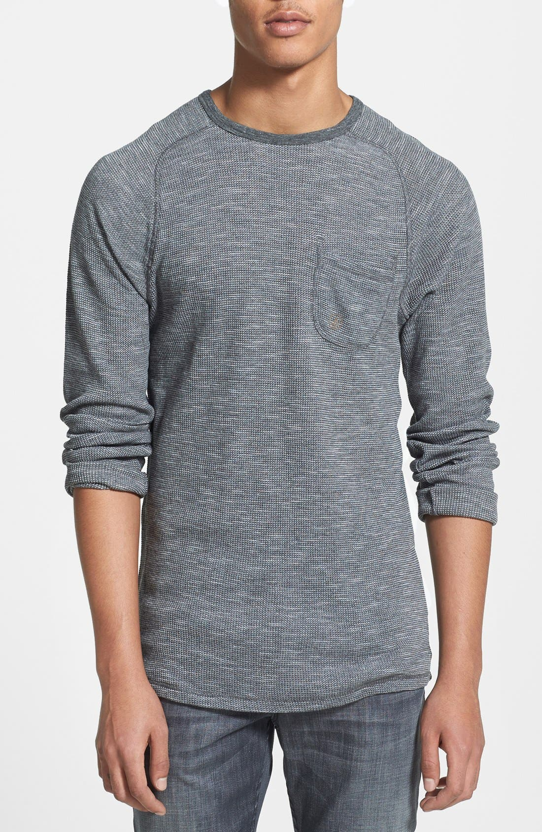 VOLCOM 'Upgrade' Slim Fit Long Sleeve Thermal Shirt, Main, color, 020