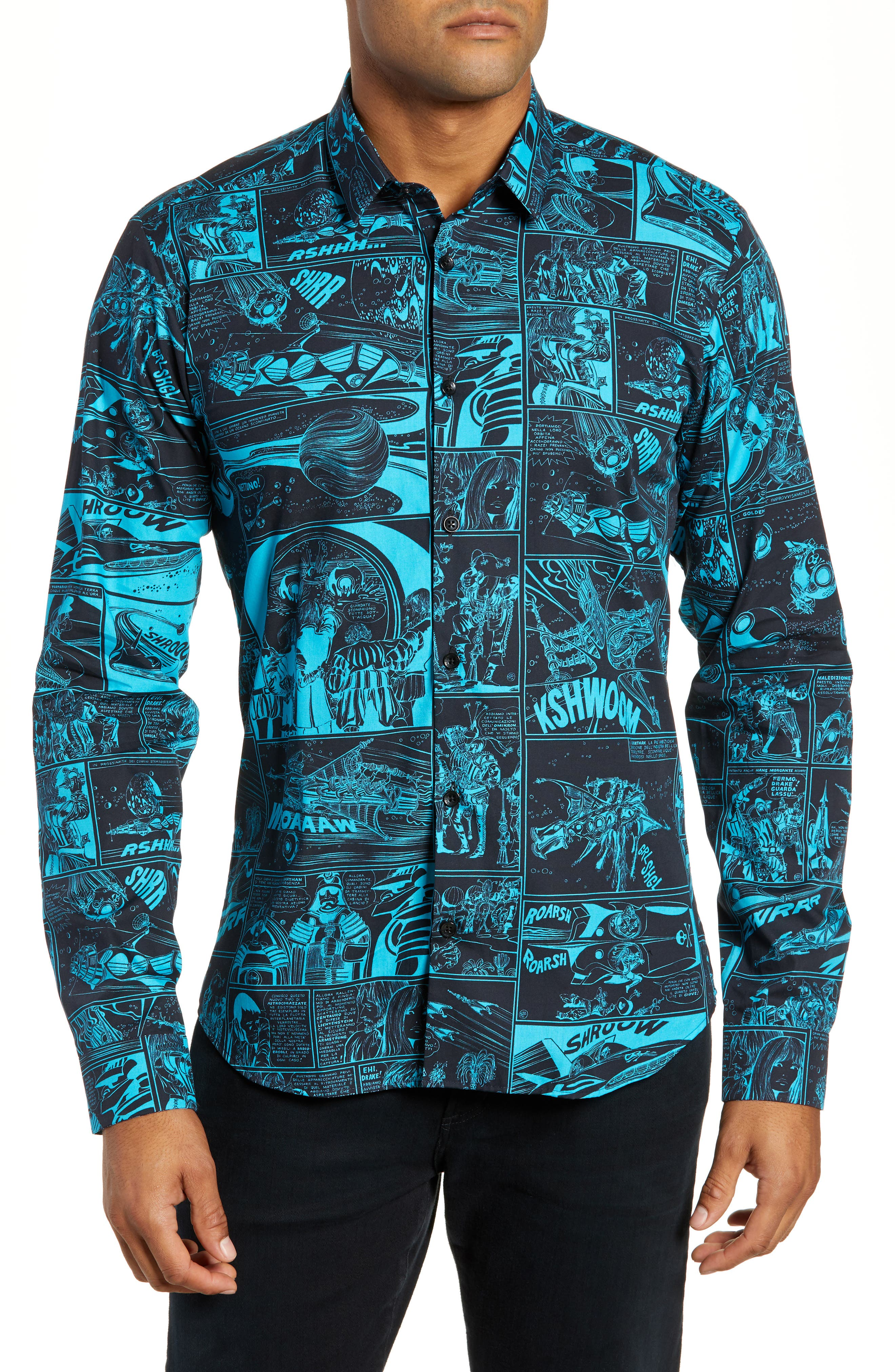 Slim Fit Print Sport Shirt,                             Main thumbnail 1, color,                             001