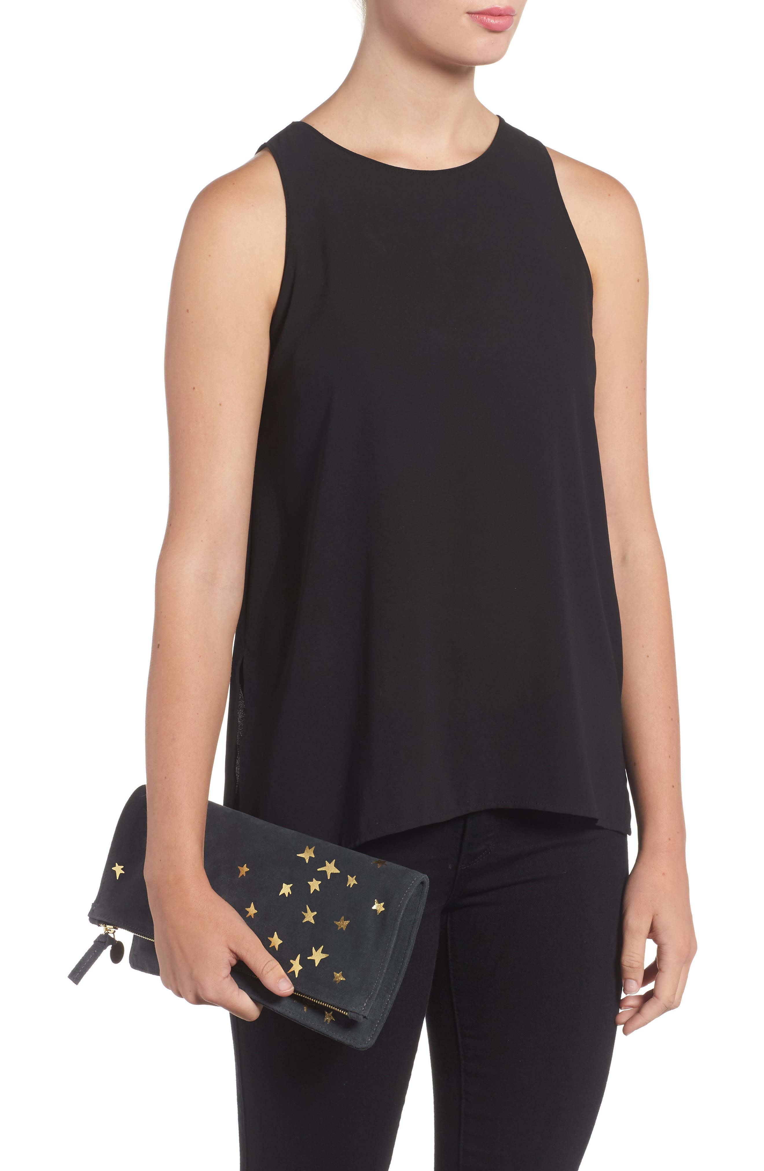 Margot Star Print Foldover Suede Clutch,                             Alternate thumbnail 2, color,                             020