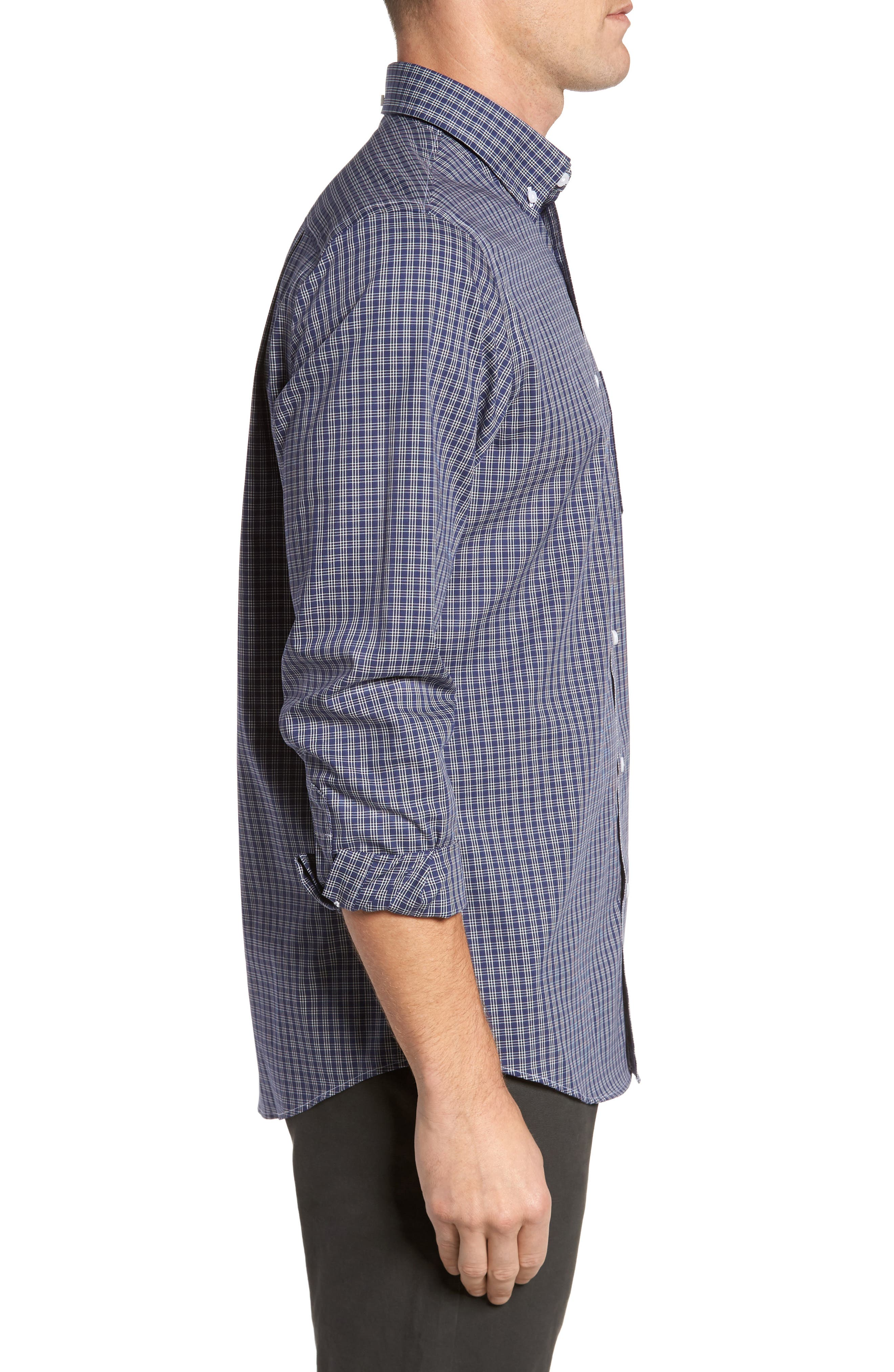 Regular Fit Non-Iron Mini Check Sport Shirt,                             Alternate thumbnail 3, color,                             410