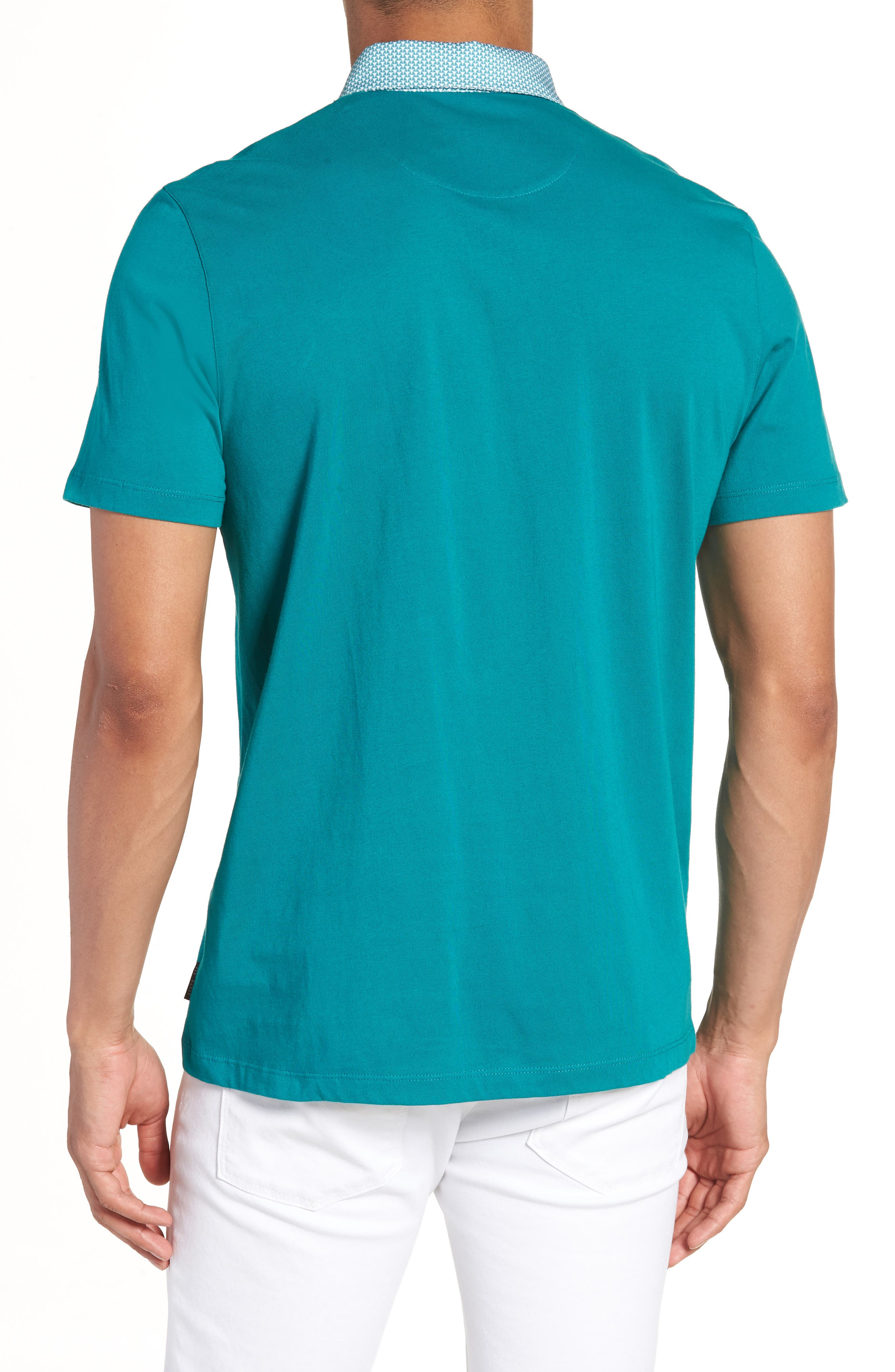 Movey Trim Fit Woven Geo Polo,                             Alternate thumbnail 6, color,