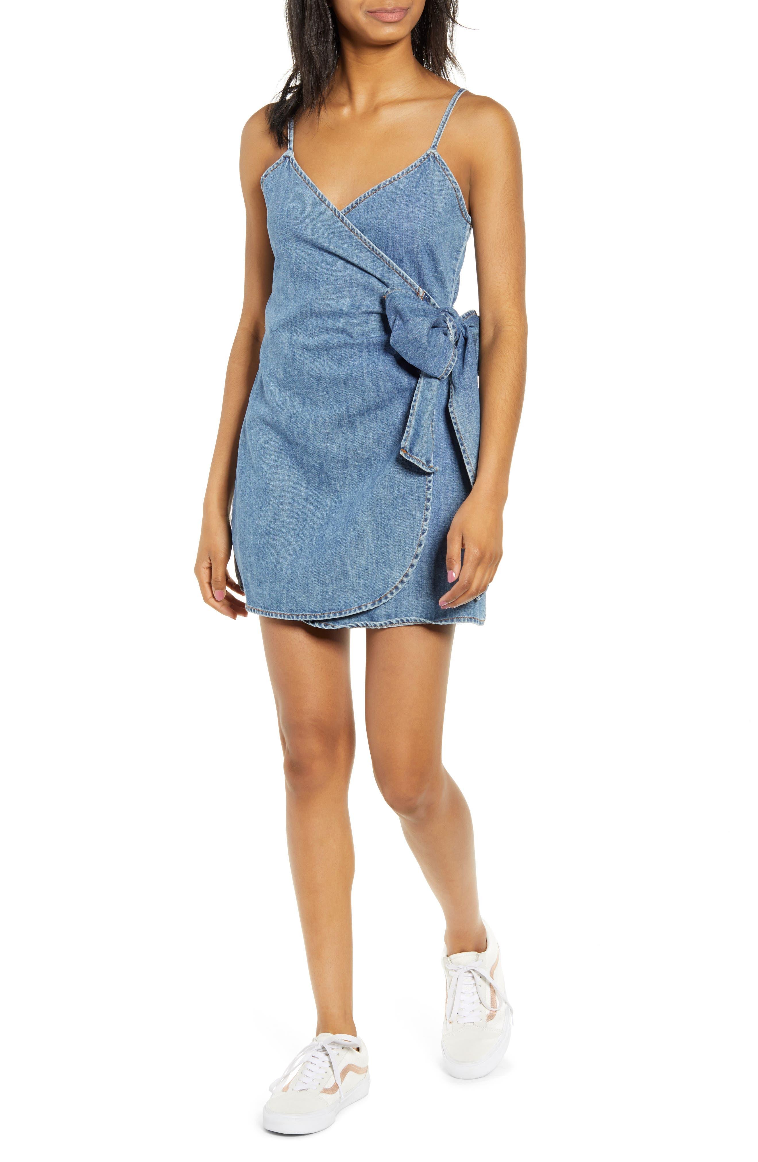 Billabong Island Wrap Denim Minidress, Blue