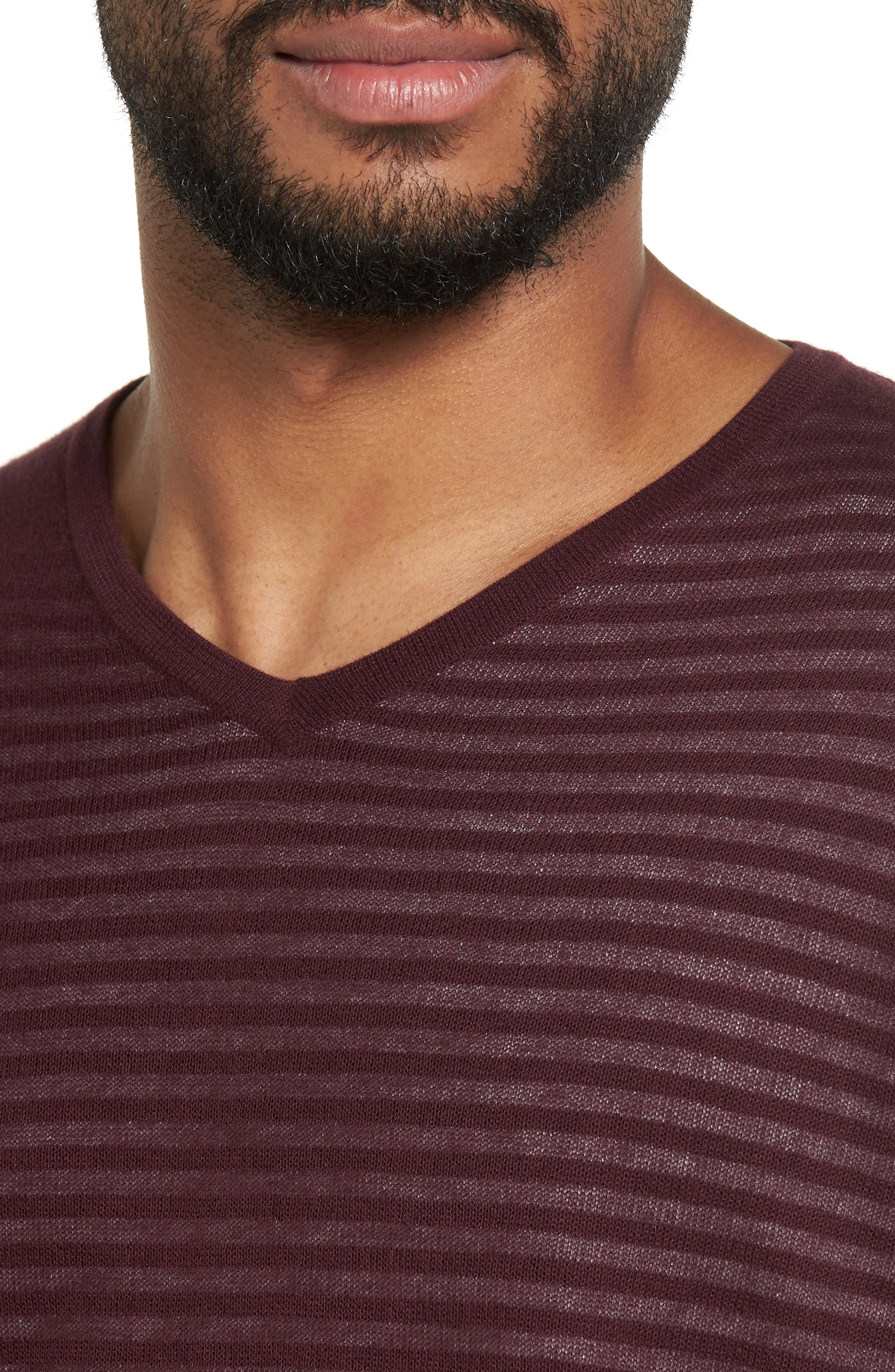 Stripe V-Neck Double Layer Sweater,                             Alternate thumbnail 8, color,