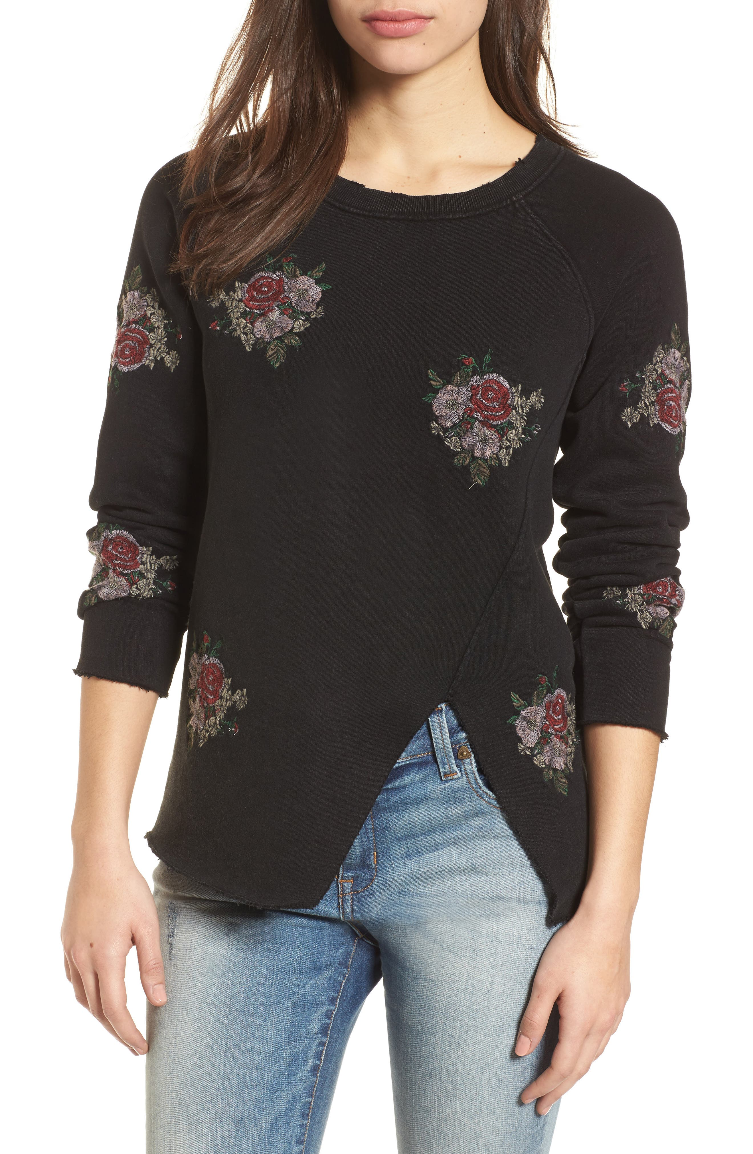Embroidered Distressed Sweatshirt,                             Main thumbnail 1, color,