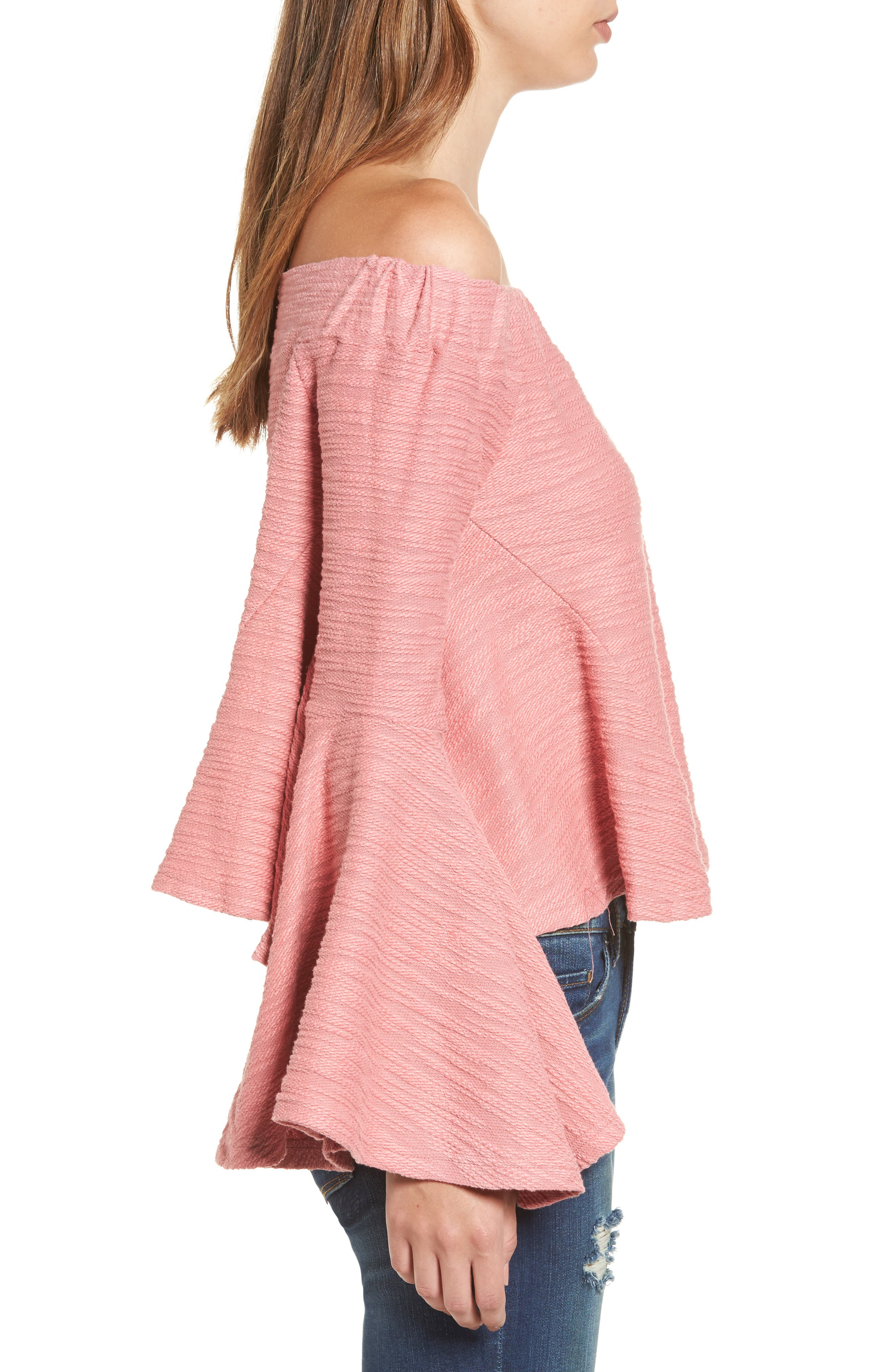 Off the Shoulder Bell Sleeve Top,                             Alternate thumbnail 3, color,                             650