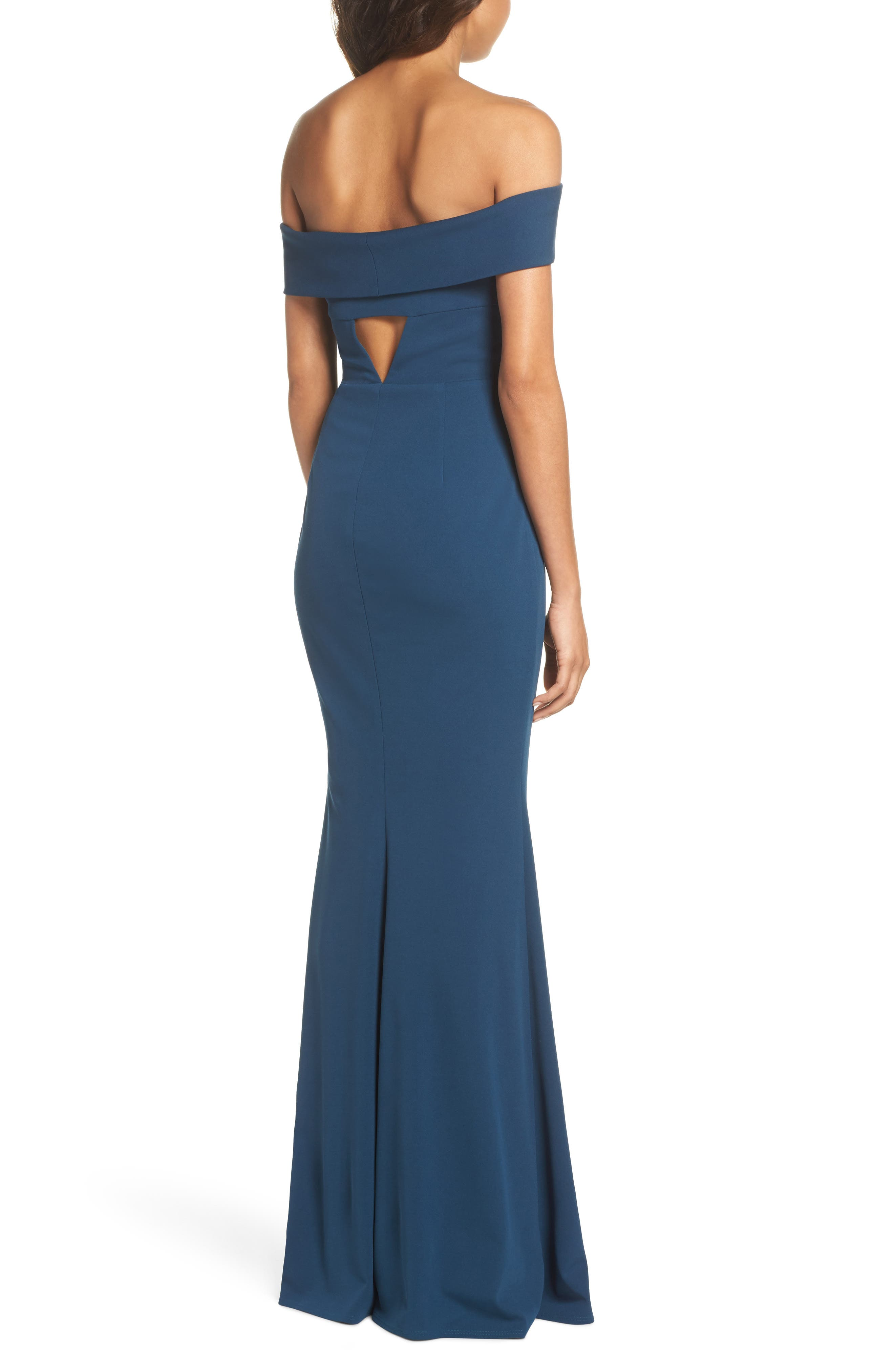 Legacy Crepe Body-Con Gown,                             Alternate thumbnail 2, color,                             TEAL