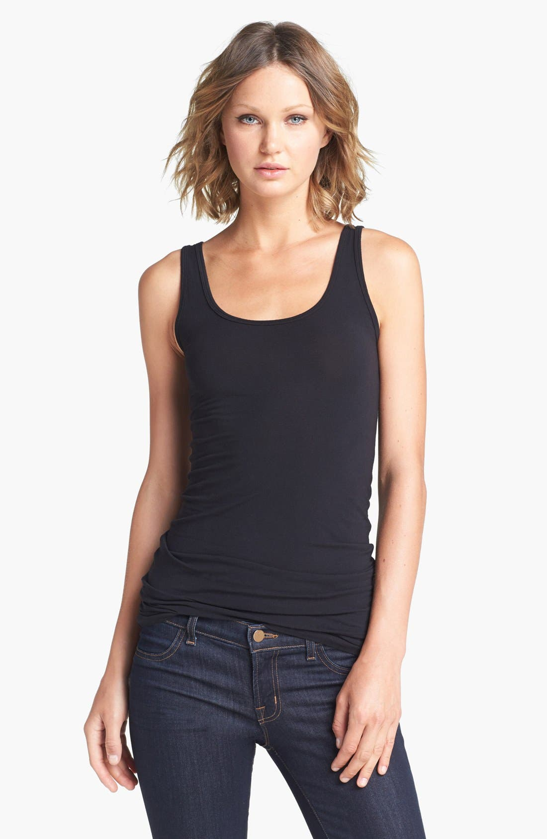 Scoop Neck Stretch Tank,                             Main thumbnail 1, color,                             001