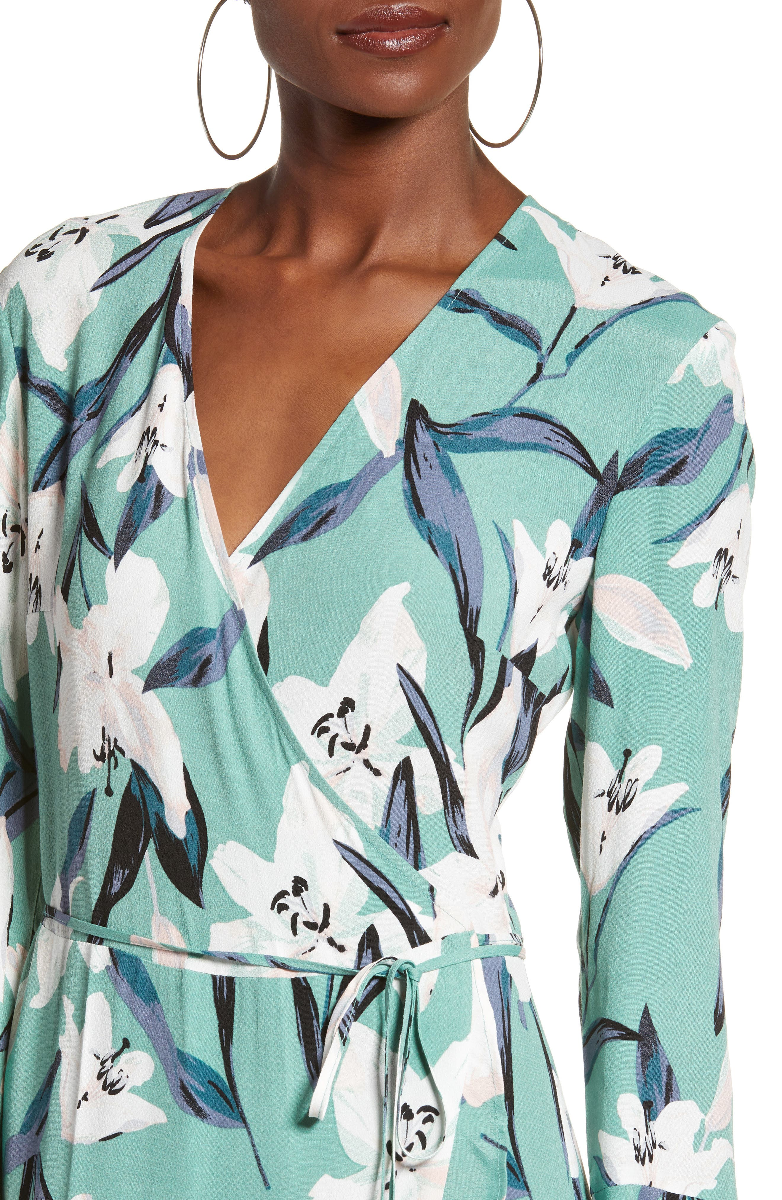 LEITH,                             Bell Sleeve Wrap Midi Dress,                             Alternate thumbnail 4, color,                             GREEN WING ROMANTIC FLR
