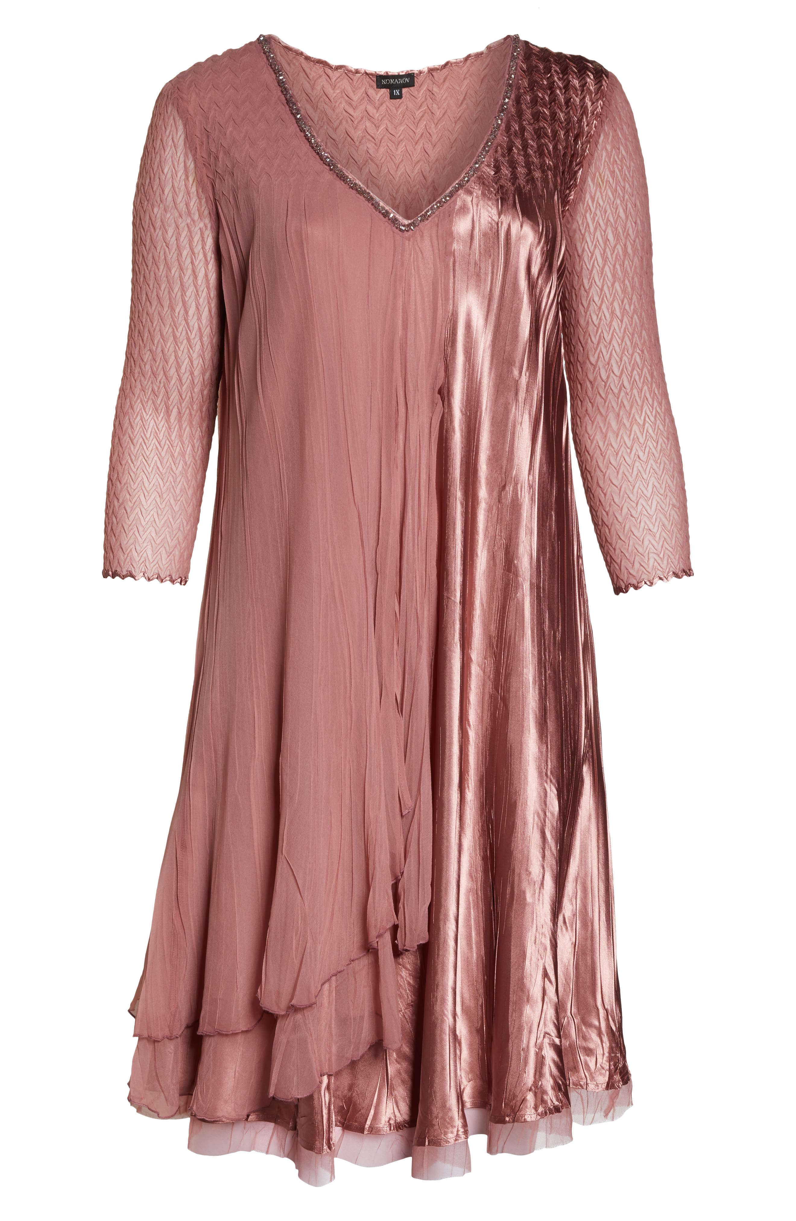 Tiered A-Line Dress,                             Alternate thumbnail 7, color,                             ROSEWOOD