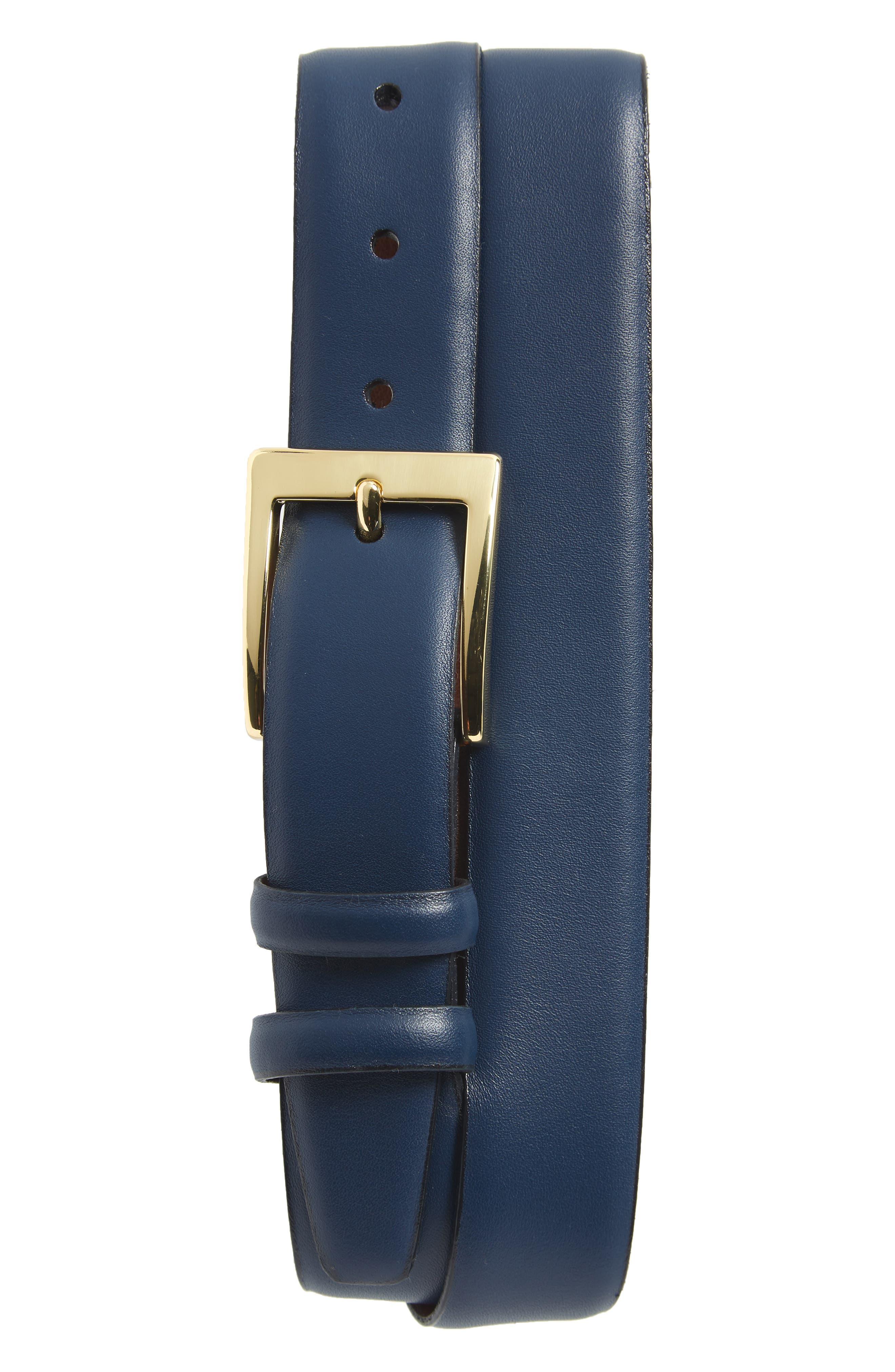 Torino Belts Double Buckle Leather Belt, Navy