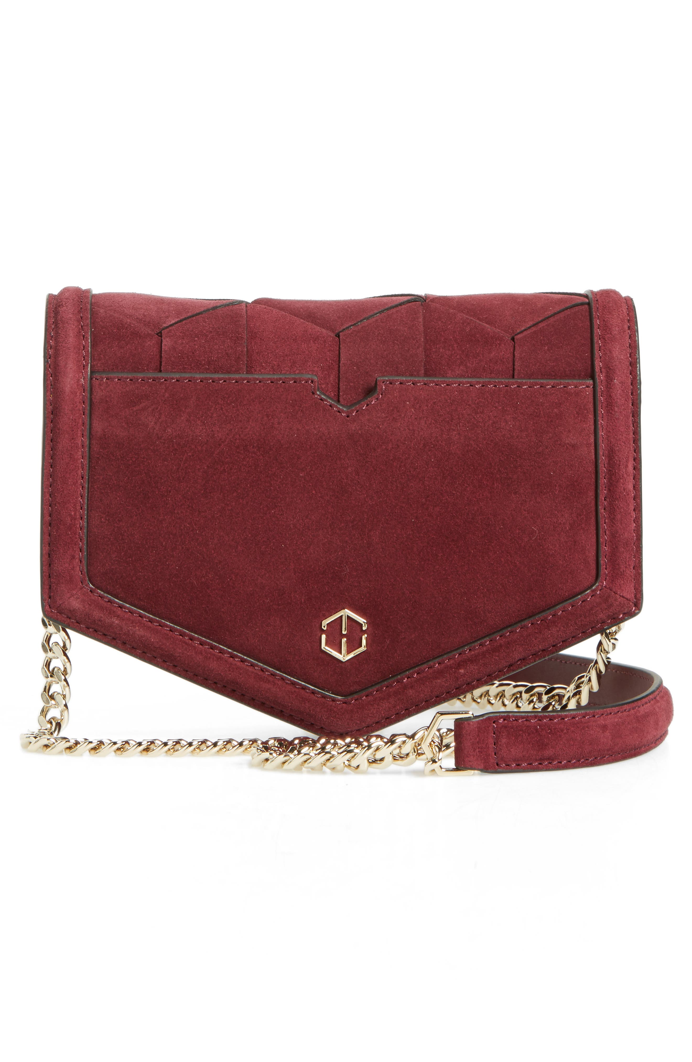 Jaunt Woven Calfskin Suede Wallet on a Chain,                             Alternate thumbnail 6, color,