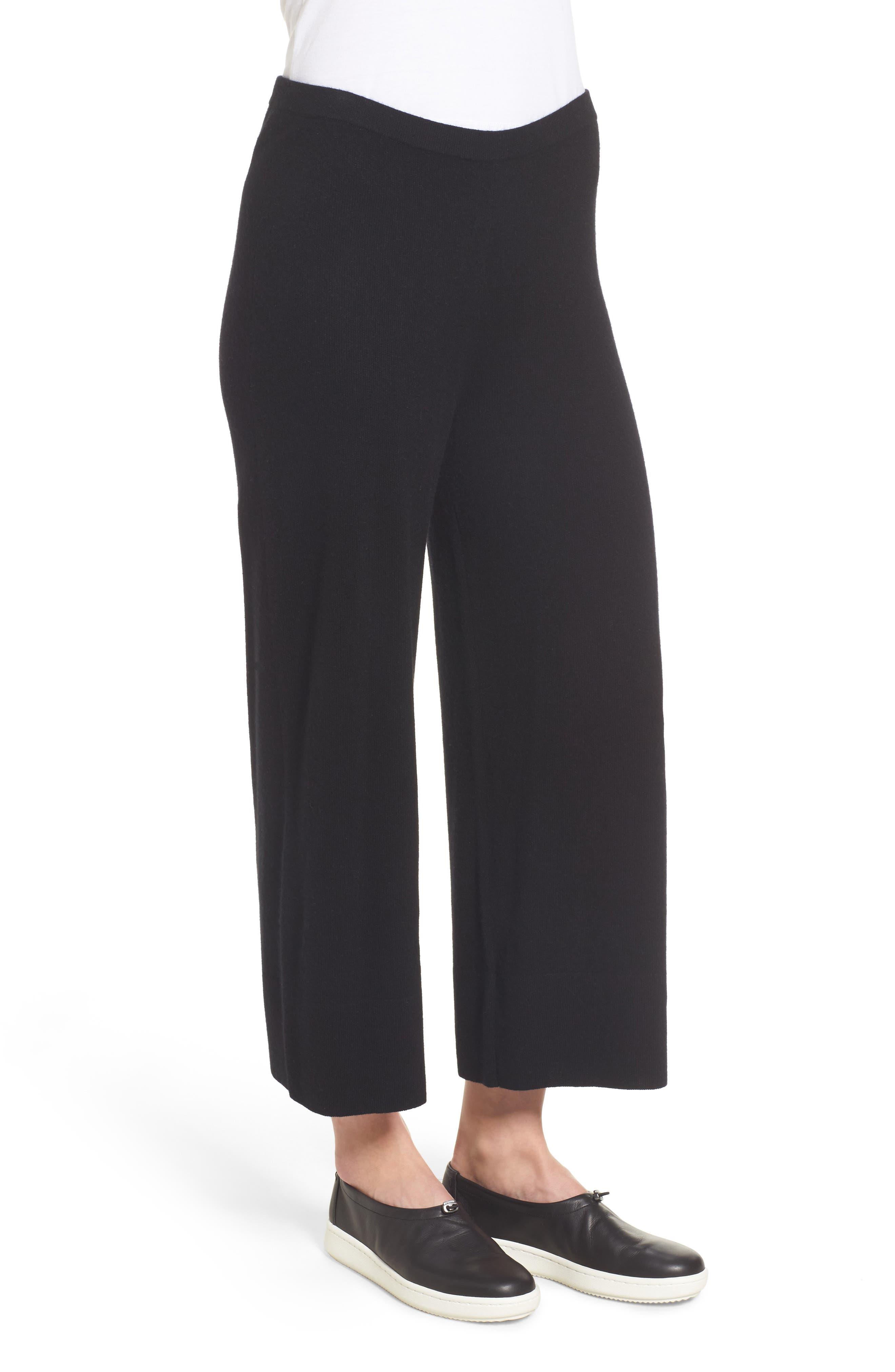 Knit Cashmere Ankle Pants,                             Alternate thumbnail 3, color,                             001