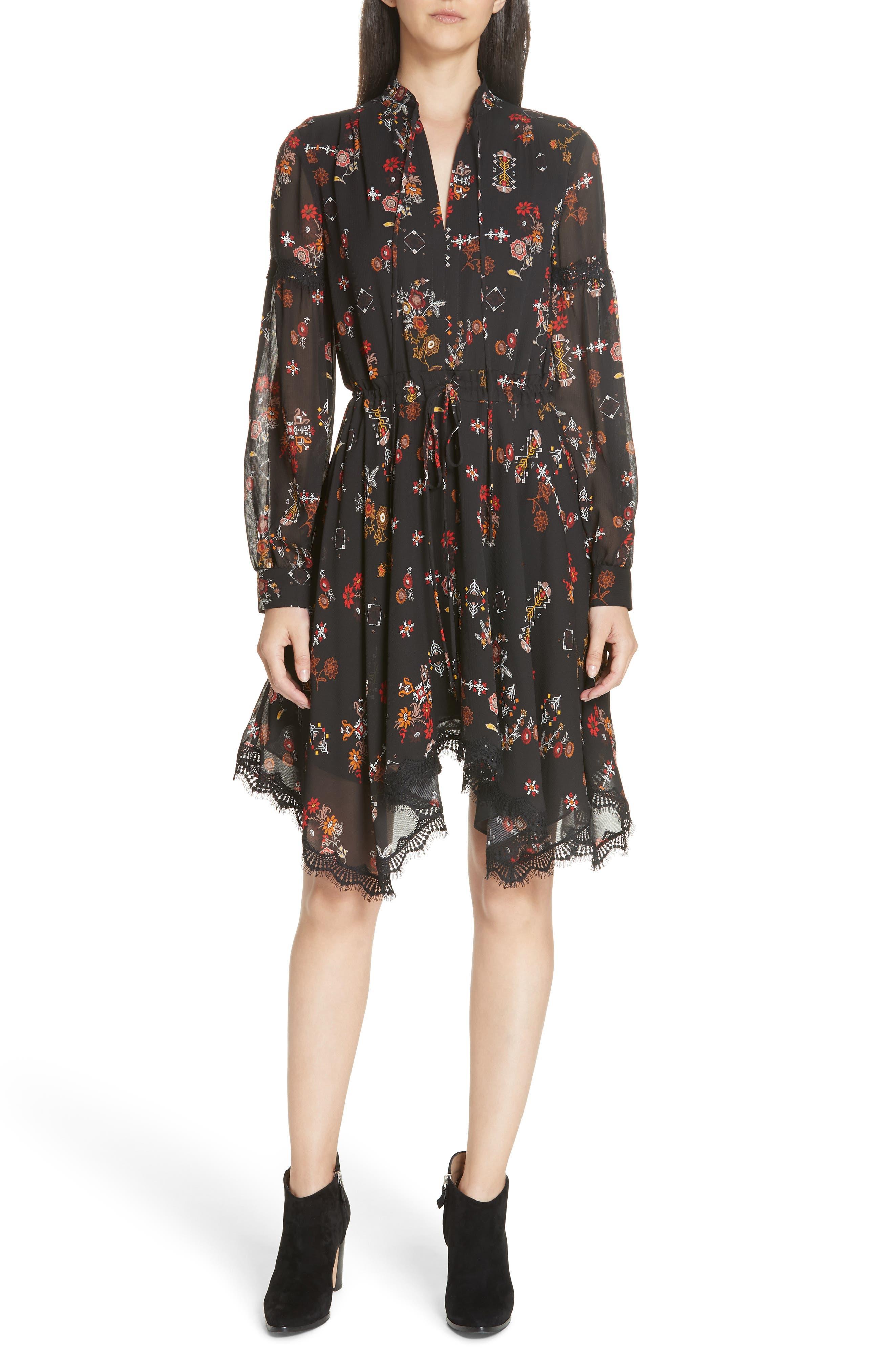 Floral Silk Georgette Handkerchief-Hem Dress - Black Size 10