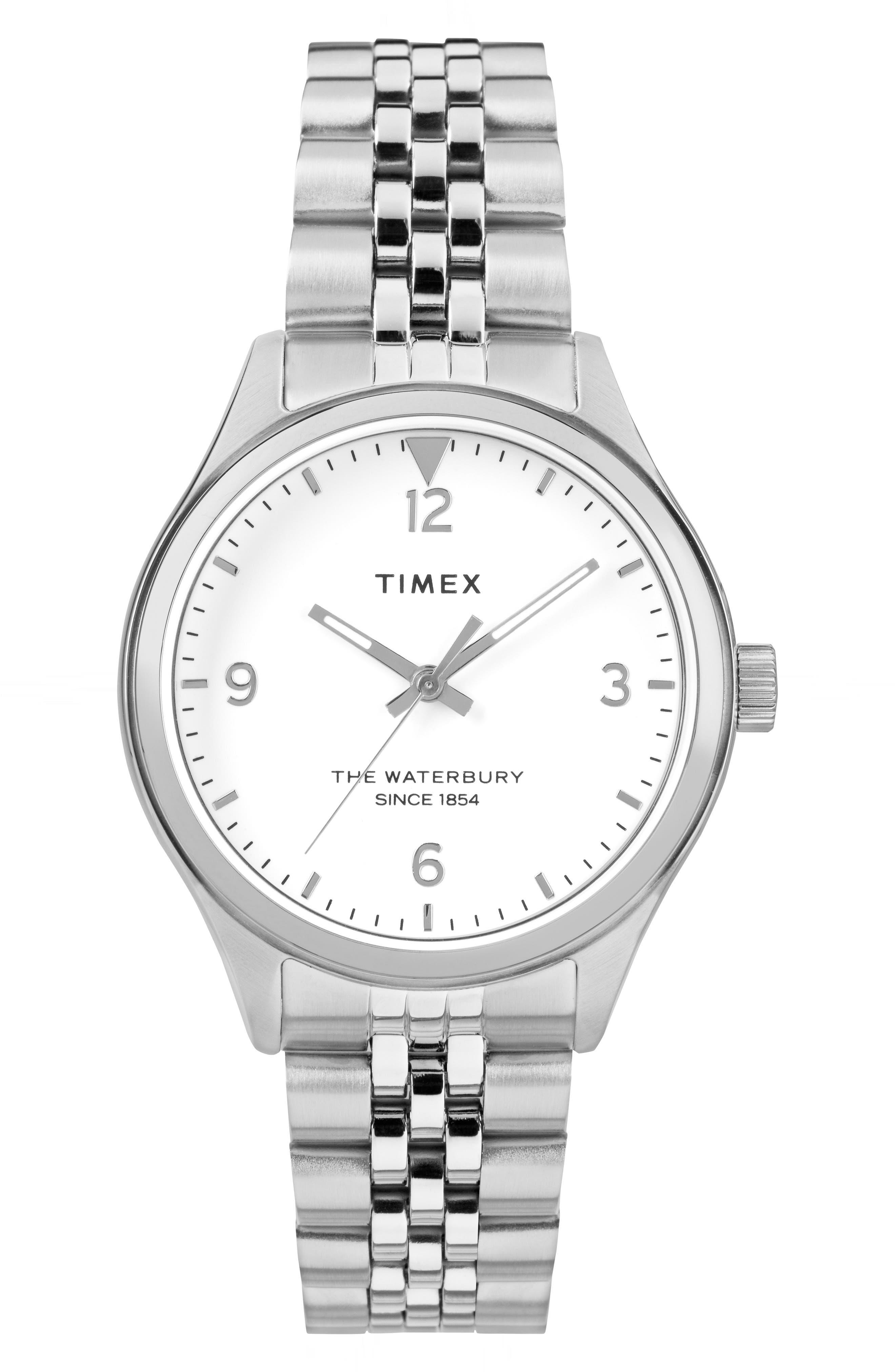 Waterbury Bracelet Watch, 34mm,                             Main thumbnail 1, color,                             SILVER/ WHITE/ SILVER