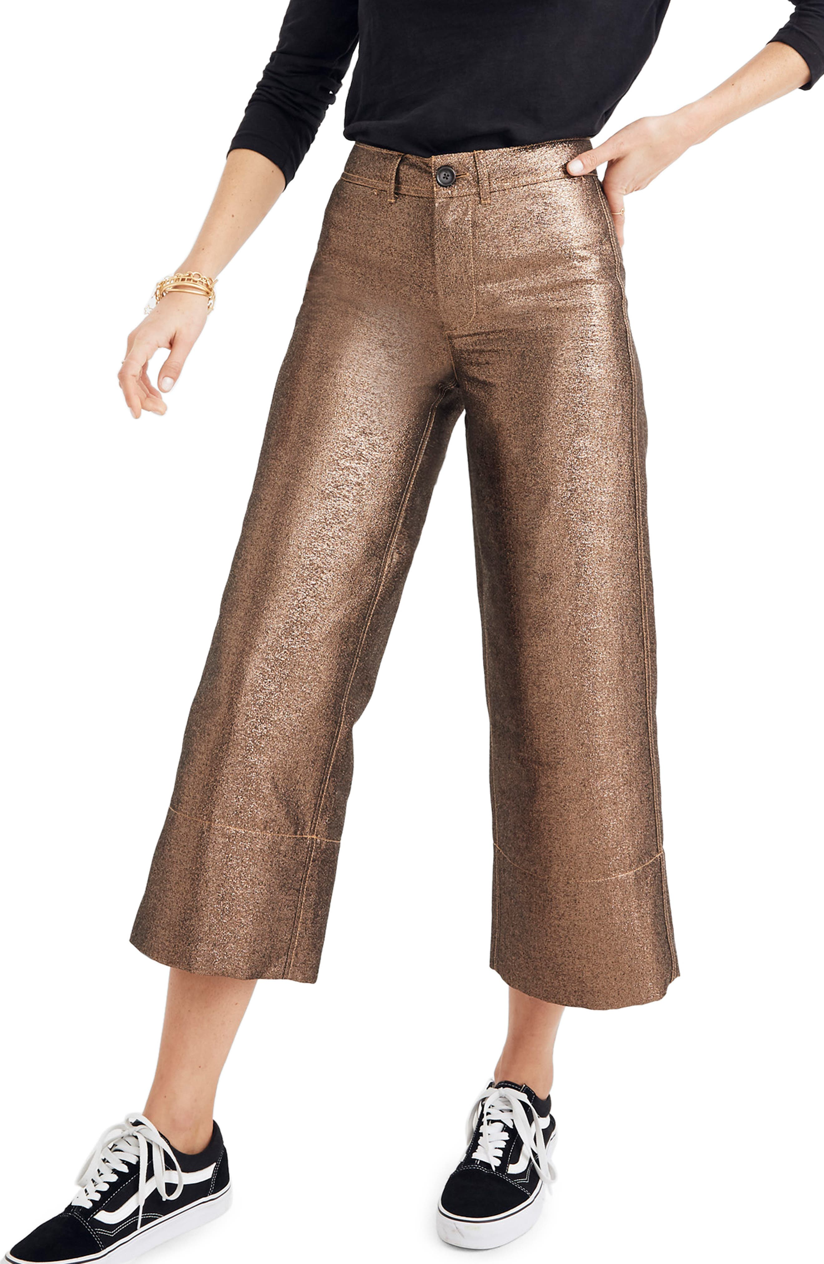Langford Metallic Crop Wide Leg Pants,                             Main thumbnail 1, color,                             METALLIC SAND